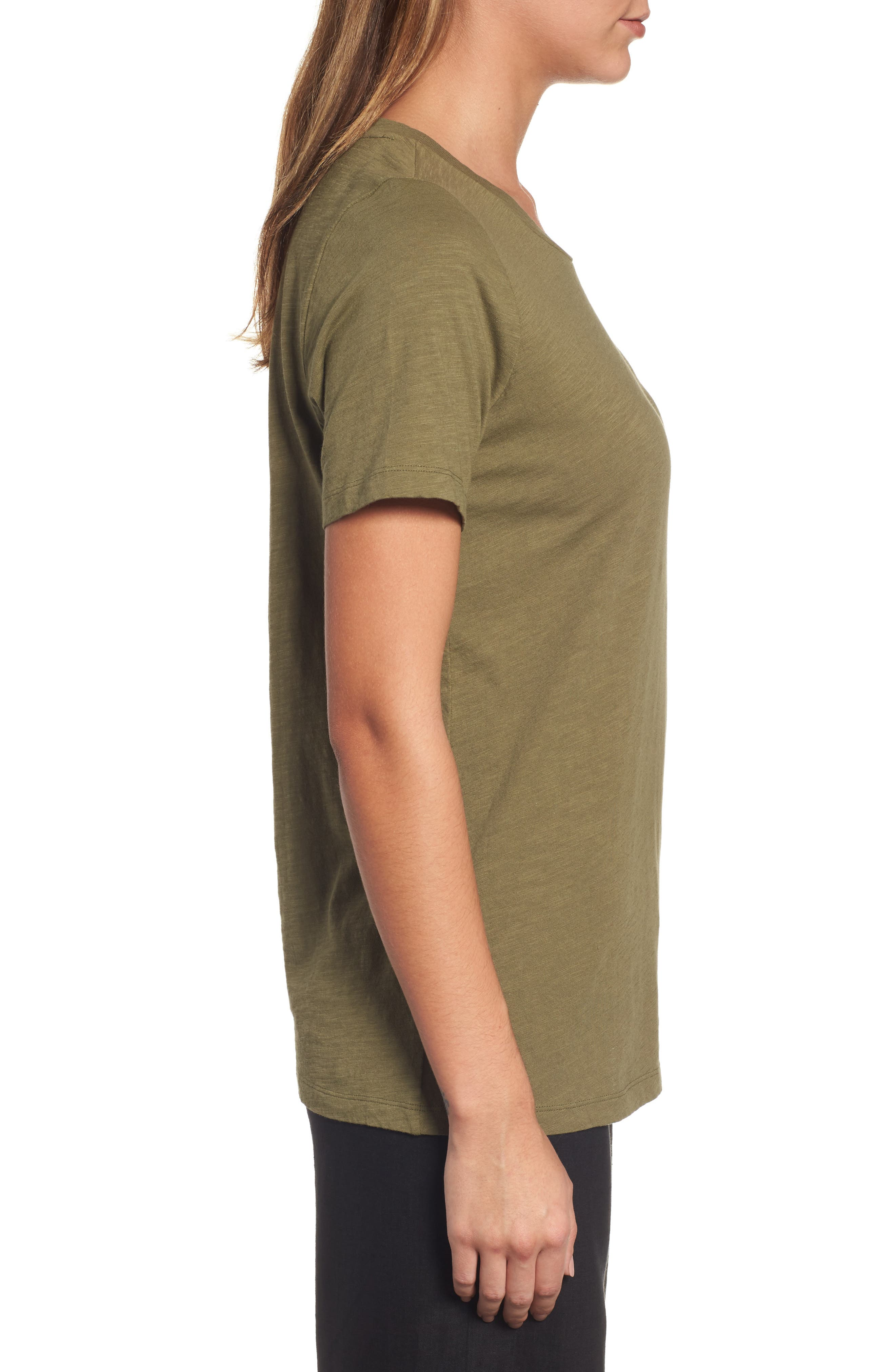 Organic Cotton Tee,                             Alternate thumbnail 3, color,                             Olive