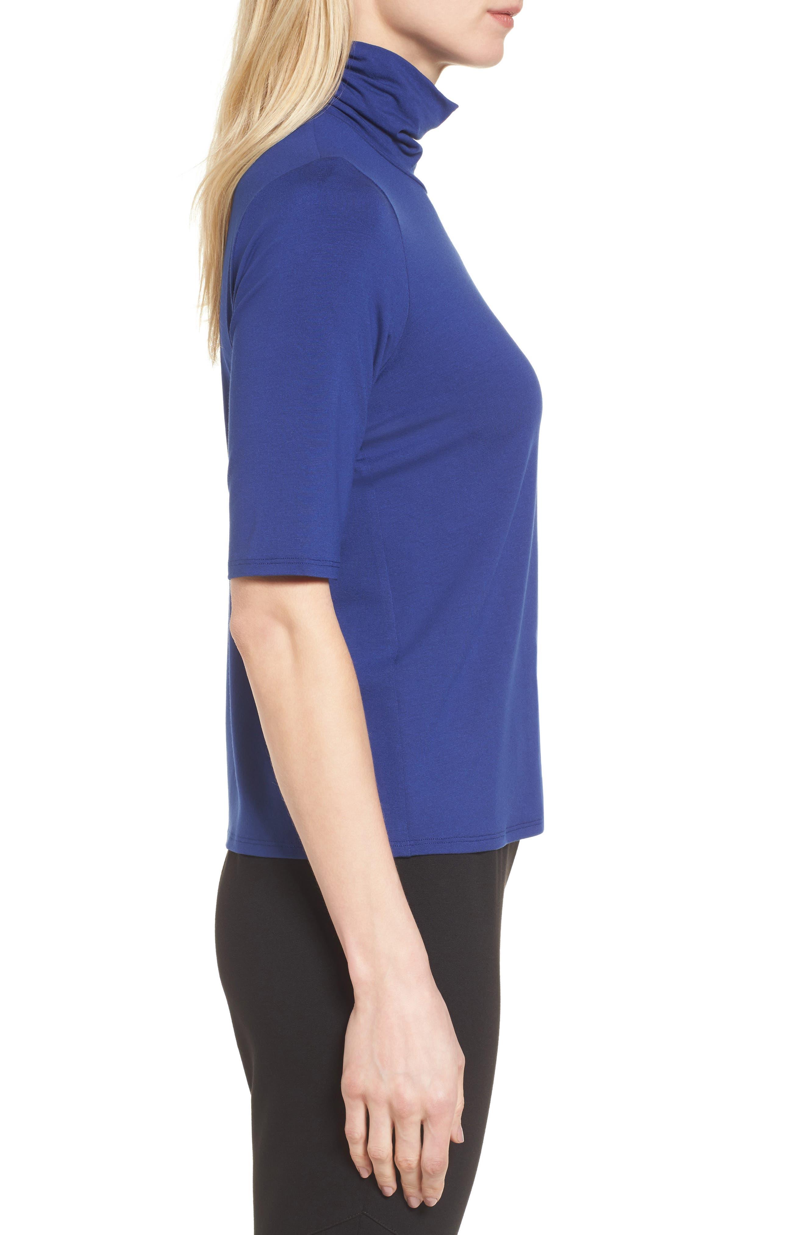 Alternate Image 3  - Eileen Fisher Scrunch Neck Jersey Top (Regular & Petite)