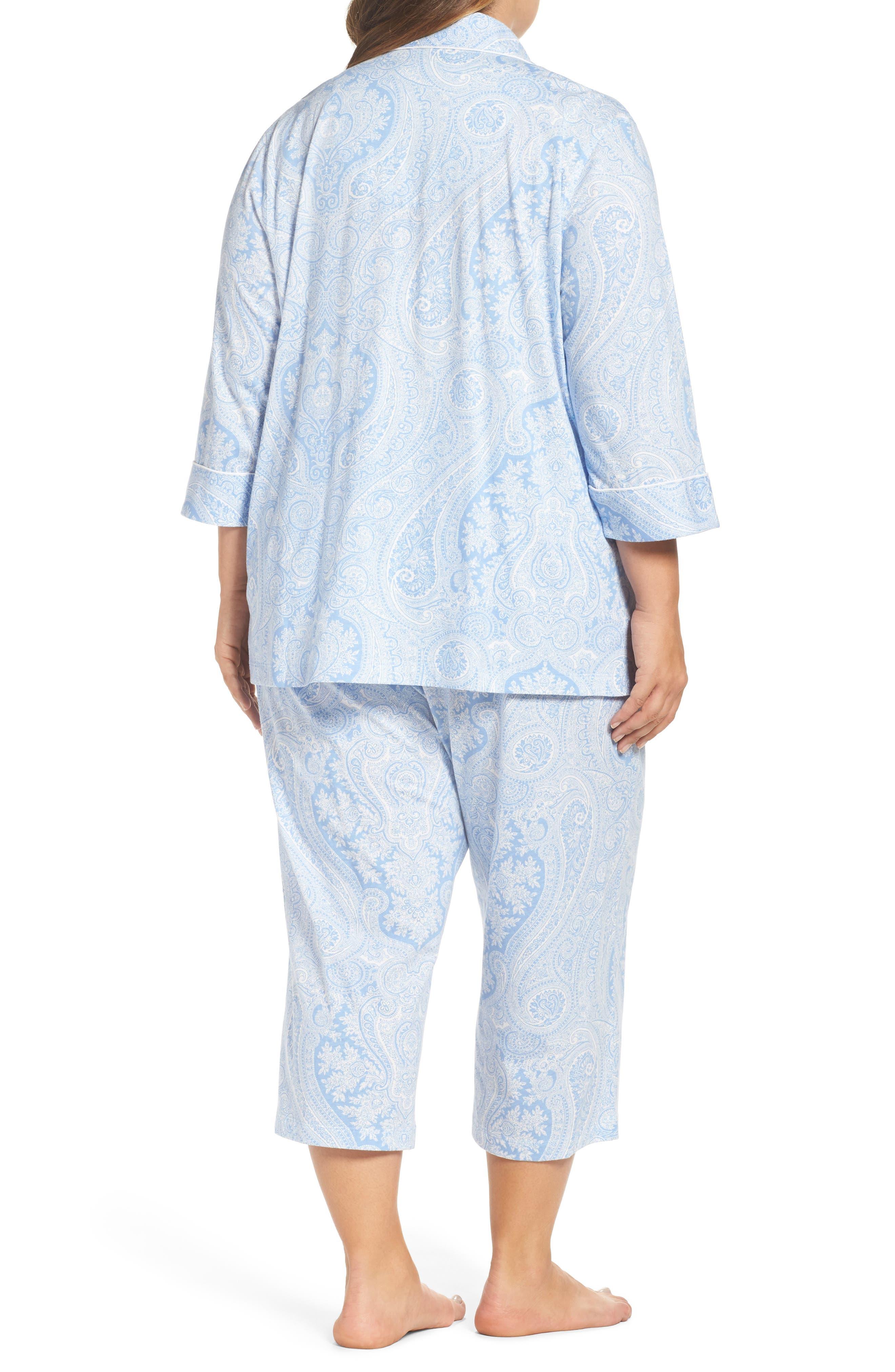 Alternate Image 2  - Lauren Ralph Lauren Knit Crop Pajamas (Plus Size) (Online Only)