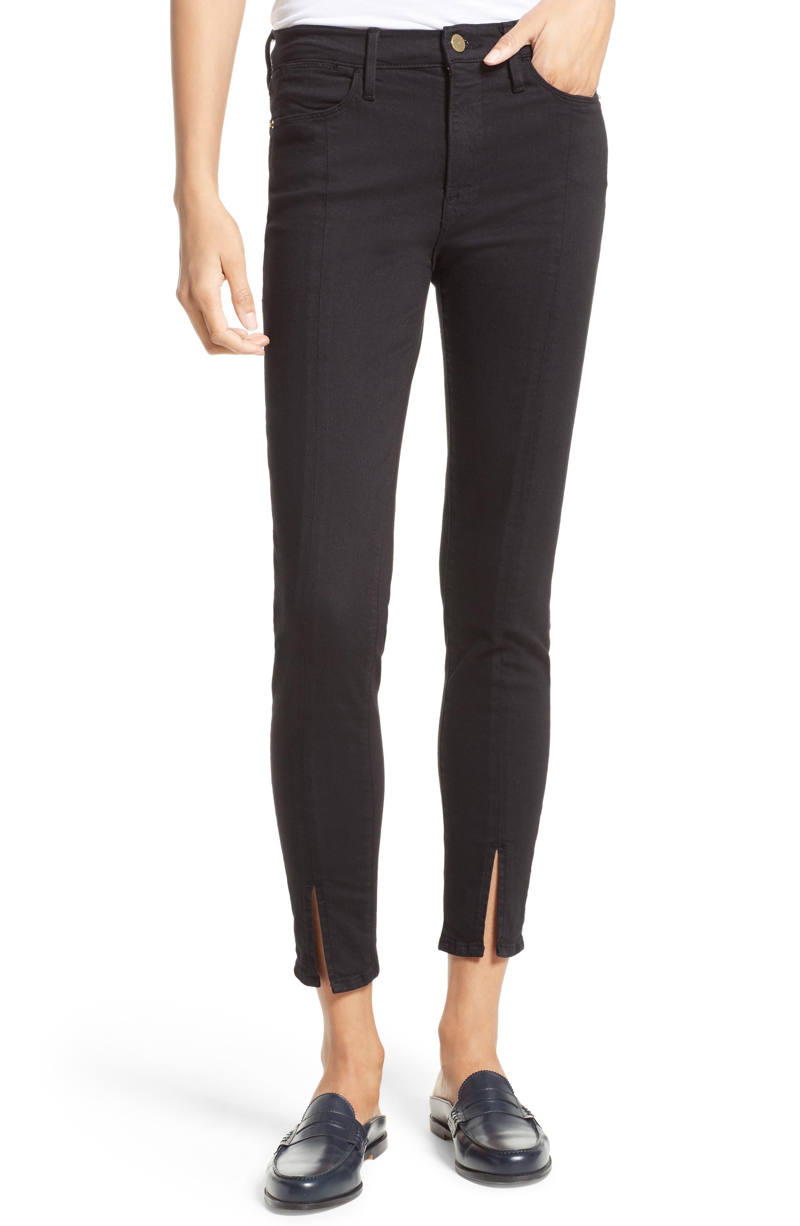 FRAME Le High Skinny Front Split High Waist Jeans