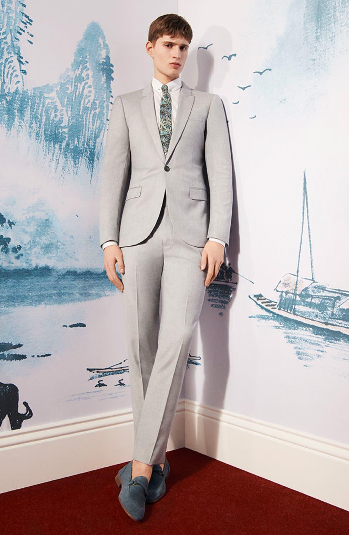 Skinny Fit Crosshatch Suit Jacket,                             Alternate thumbnail 7, color,                             Grey