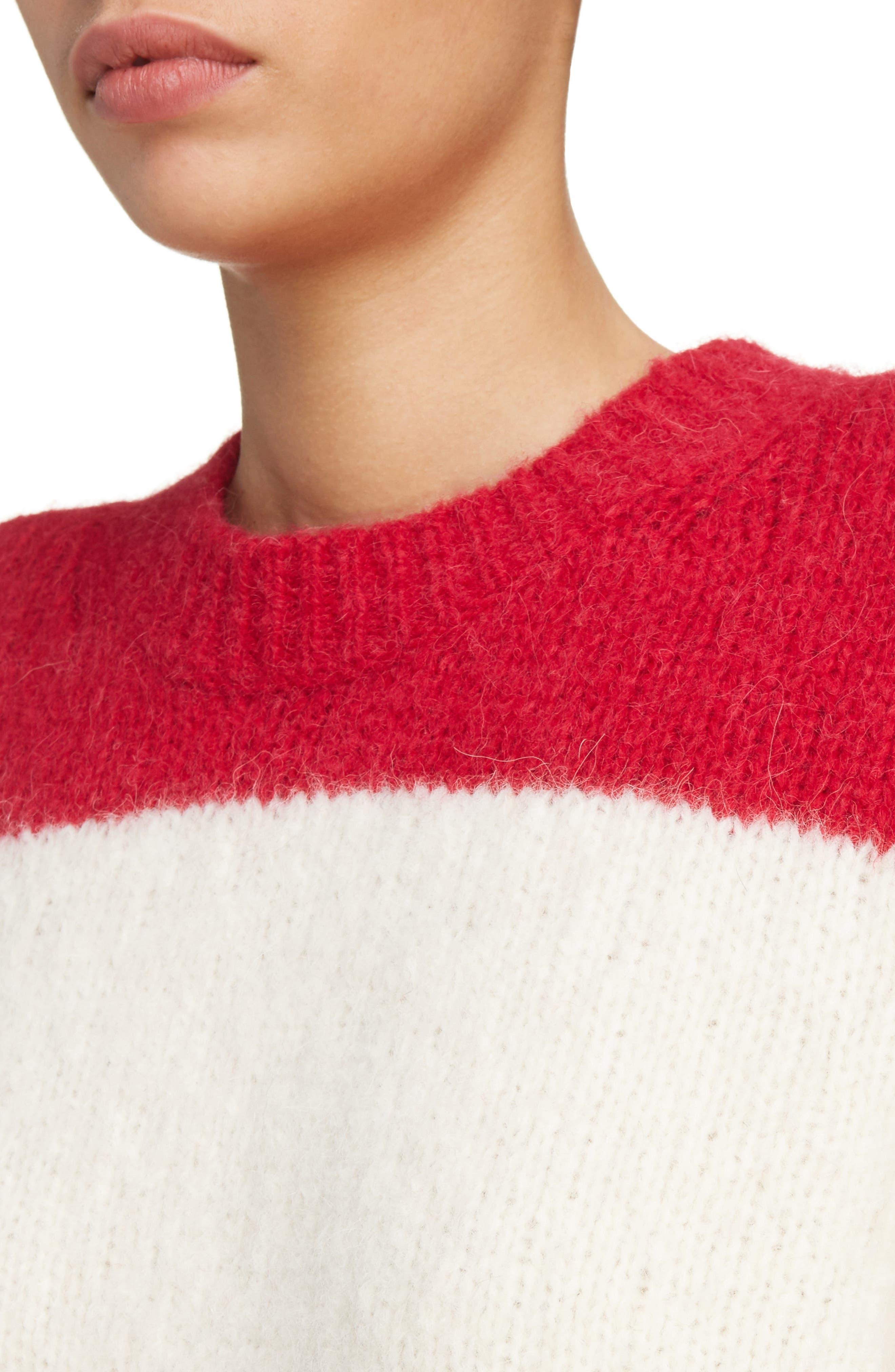 Albah Oversized Stripe Sweater,                             Alternate thumbnail 4, color,                             Red/ White