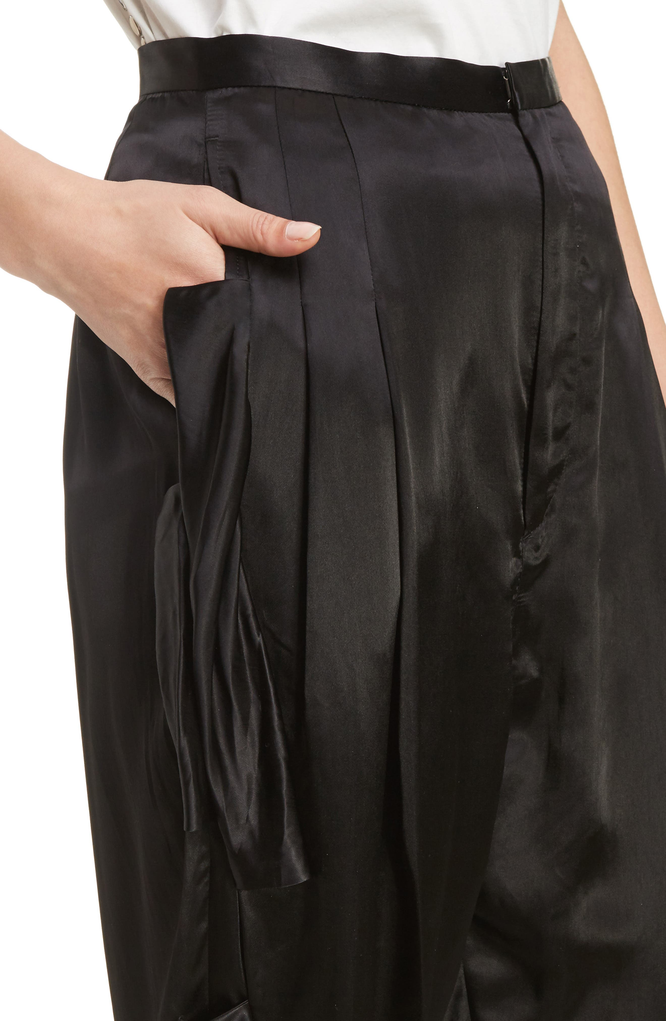 Pleated Satin Crop Pants,                             Alternate thumbnail 5, color,                             Black