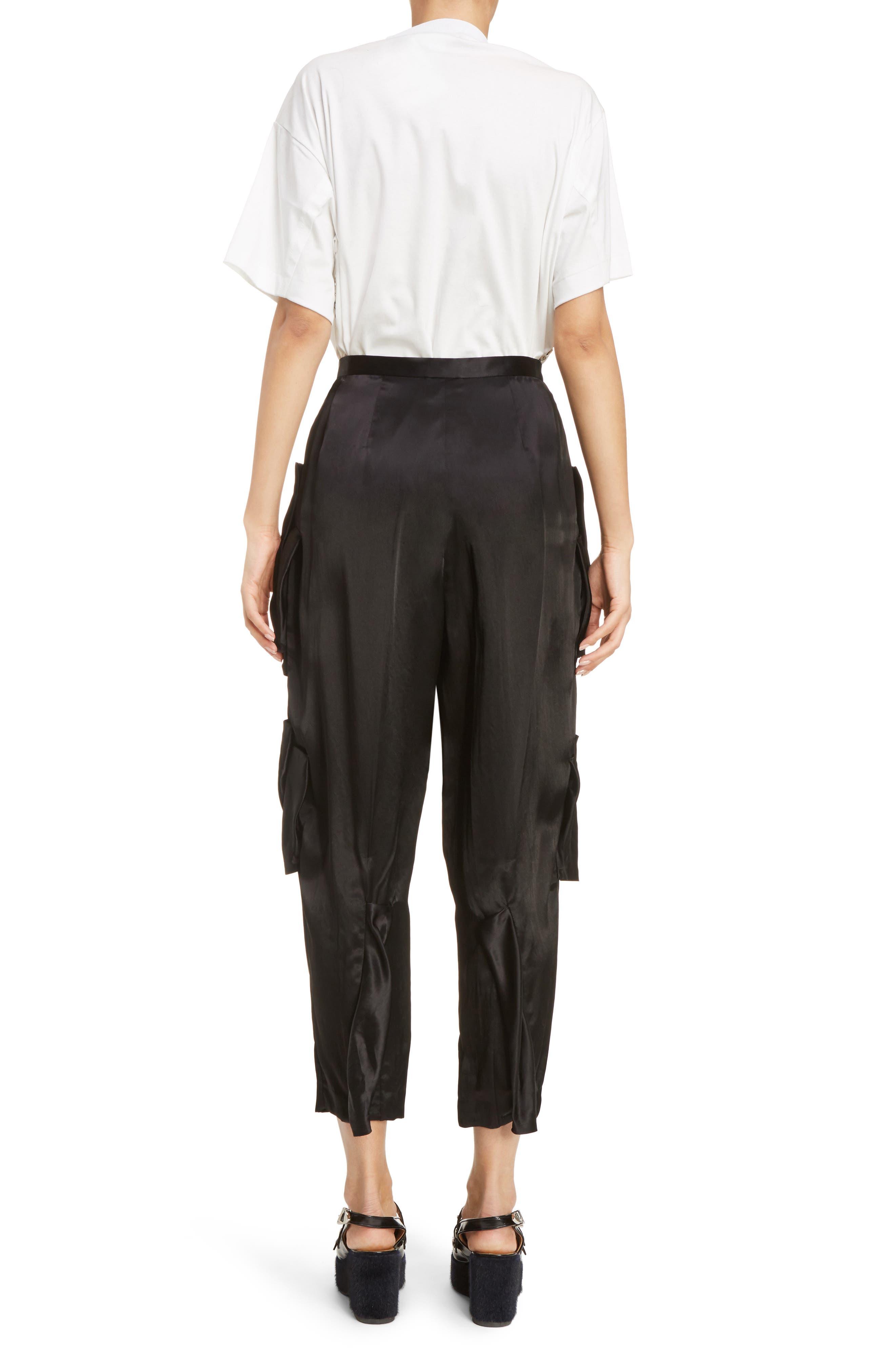 Pleated Satin Crop Pants,                             Alternate thumbnail 2, color,                             Black