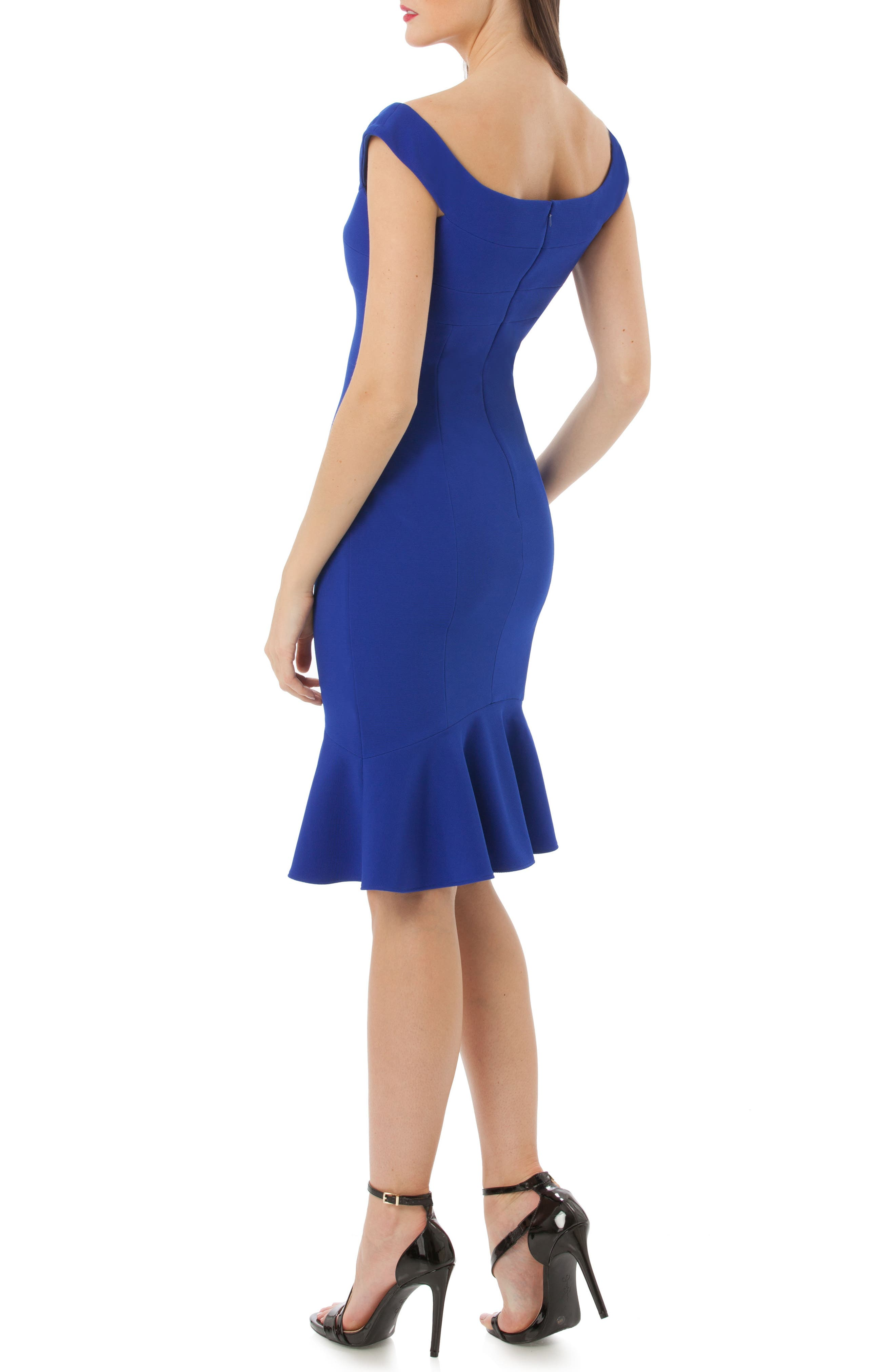 Off the Shoulder Cocktail Dress,                             Alternate thumbnail 2, color,                             Royal