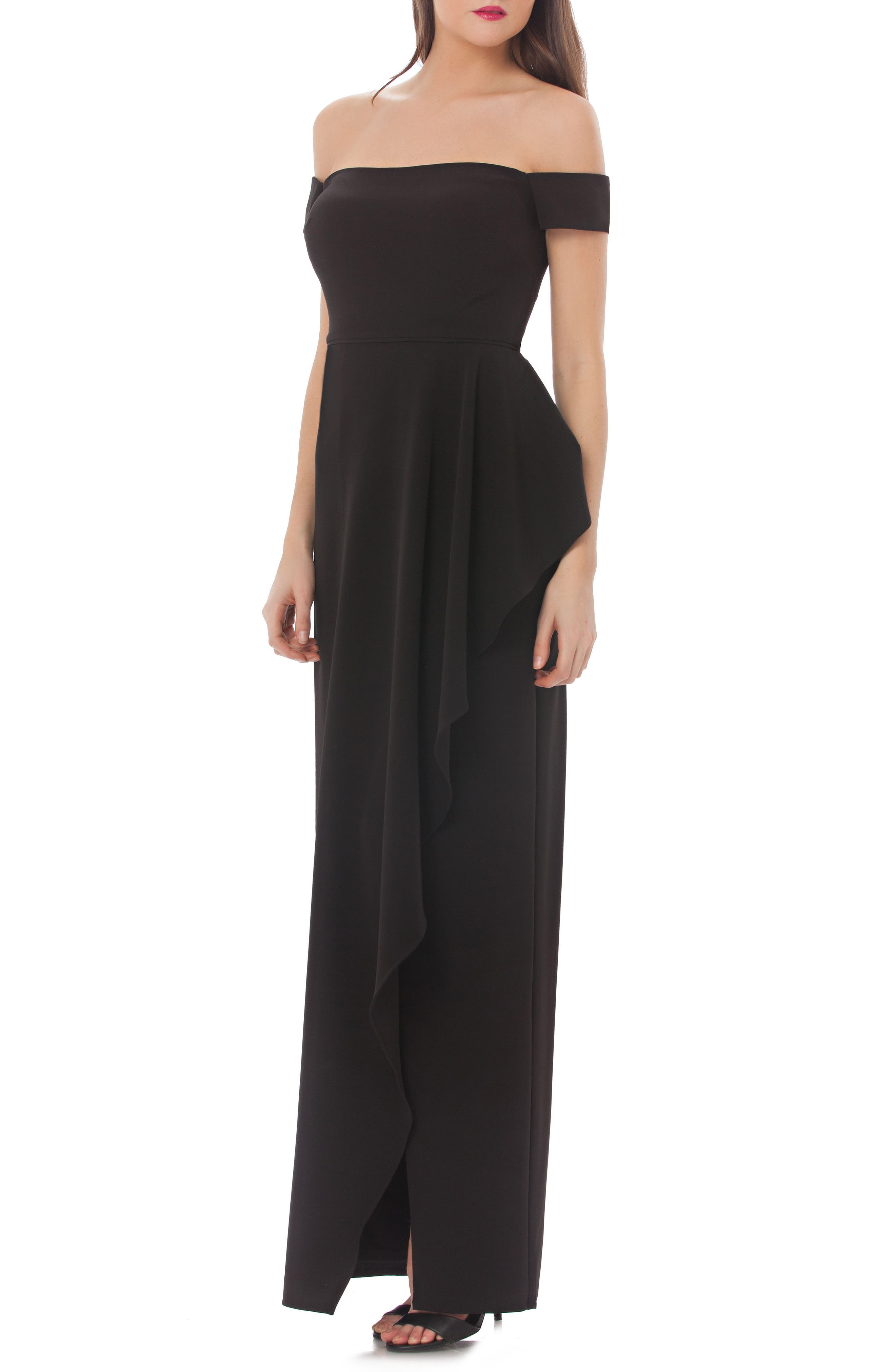 JS Collections Crepe Off the Shoulder Cascade Gown