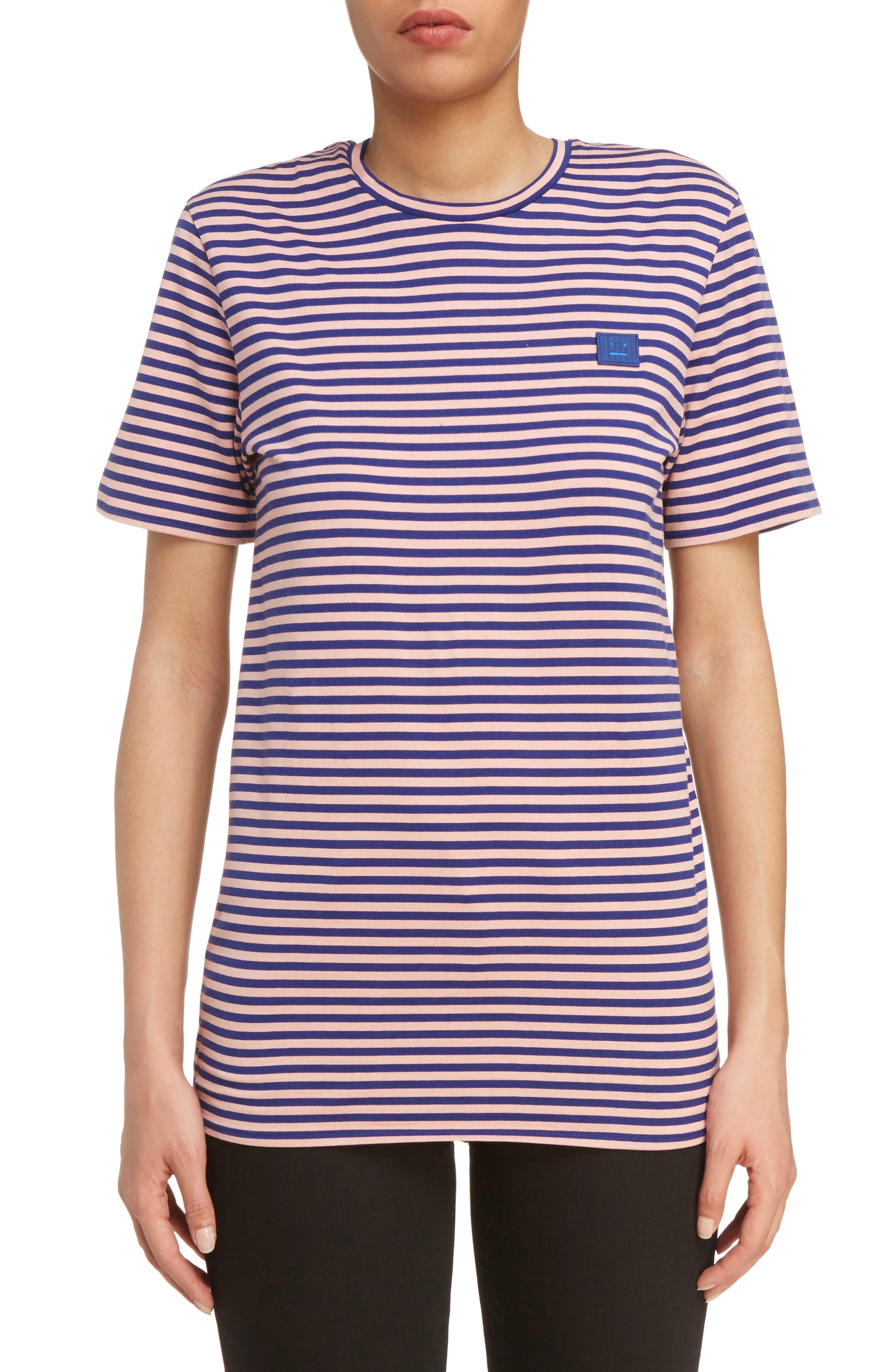 Napa Face Stripe Tee,                             Main thumbnail 1, color,                             Pale Pink/ Royal Blue