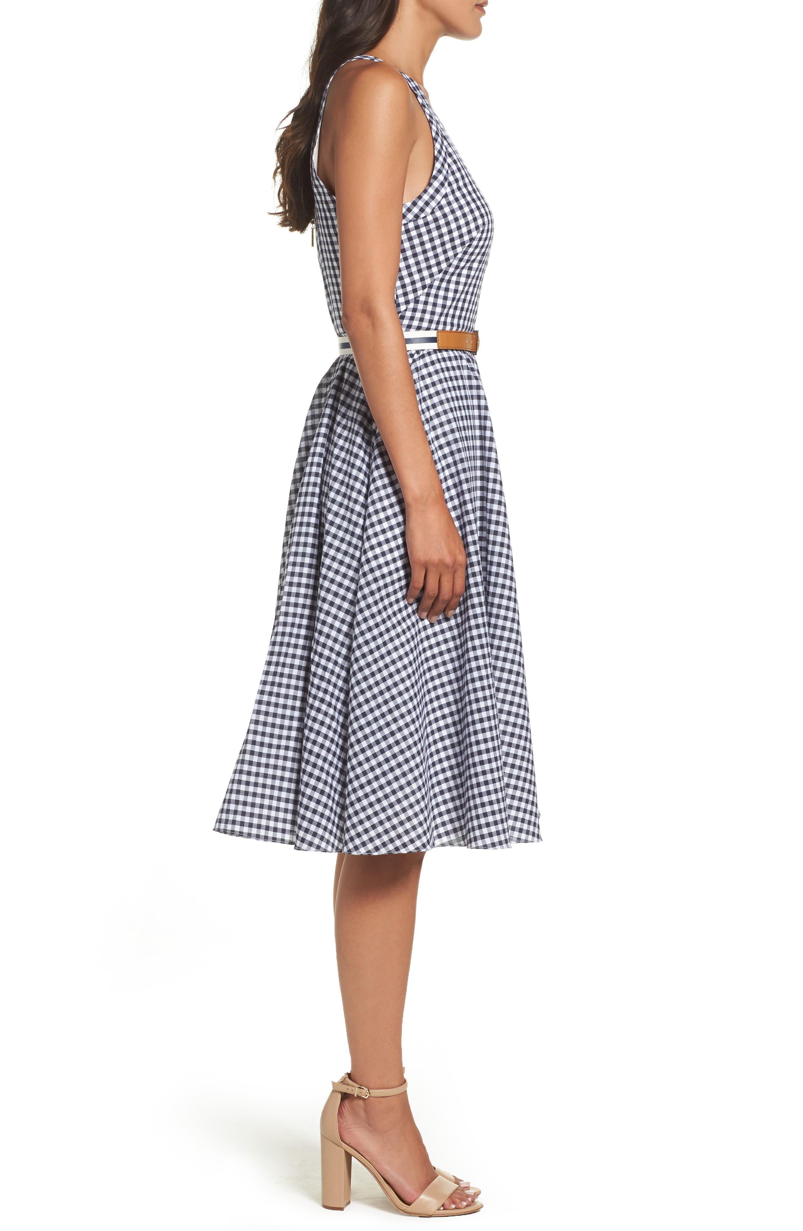 Belted Fit & Flare Dress,                             Alternate thumbnail 3, color,                             Navy/ Ivory