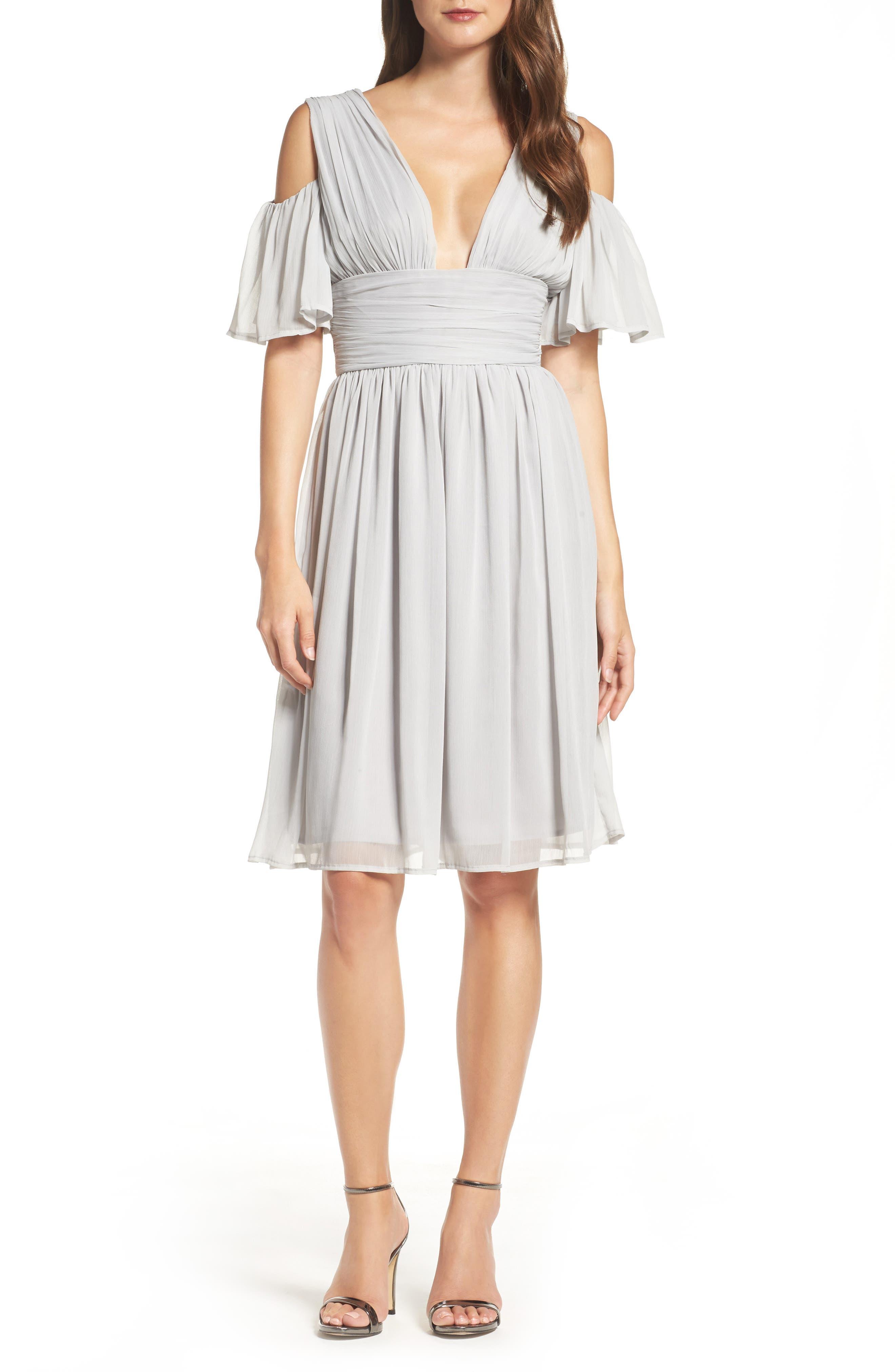 Chiffon Fit & Flare Dress,                         Main,                         color, Freeway Grey