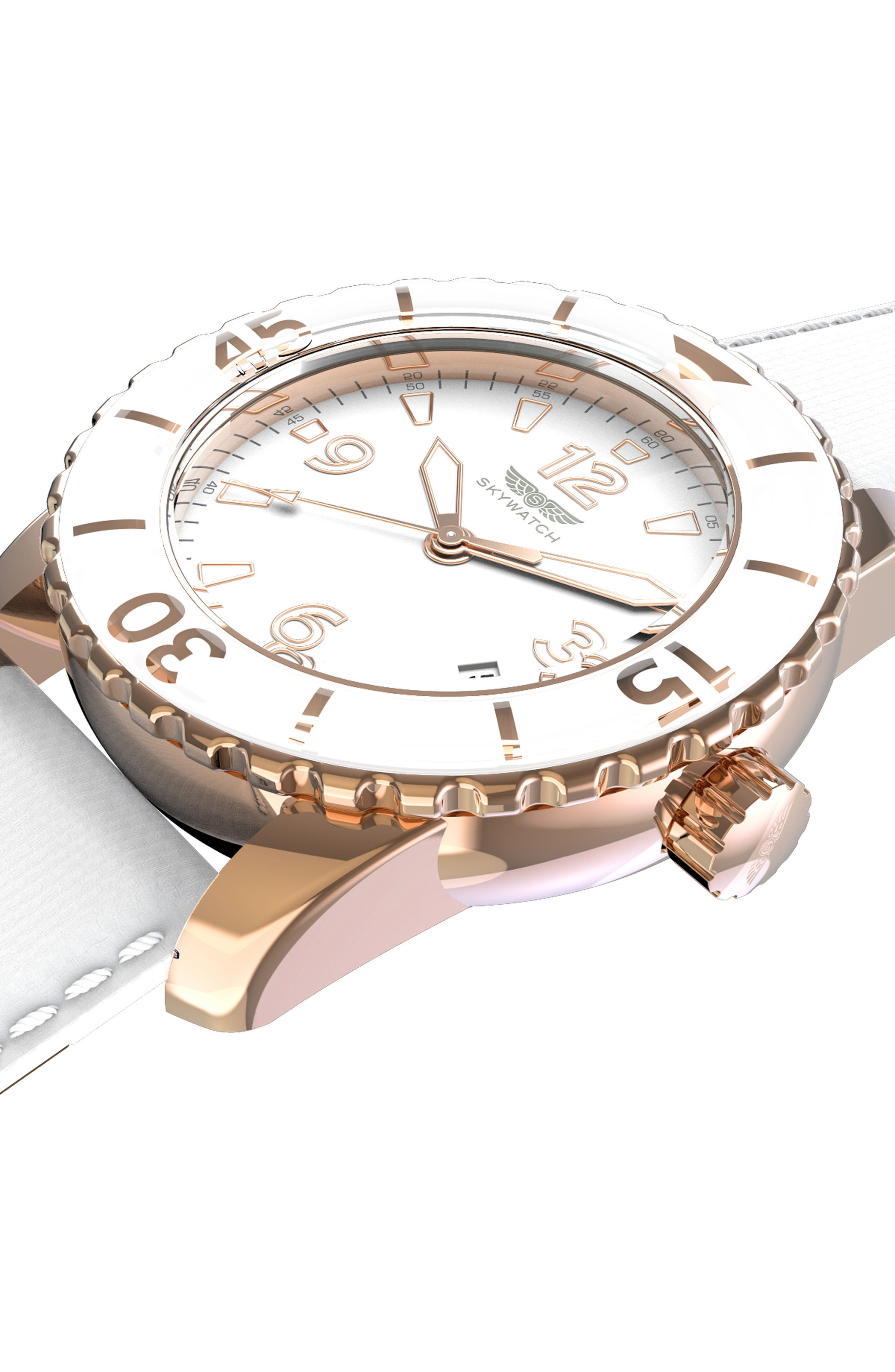 Alternate Image 5  - SKYWATCH Classic Woven Strap Watch, 44mm