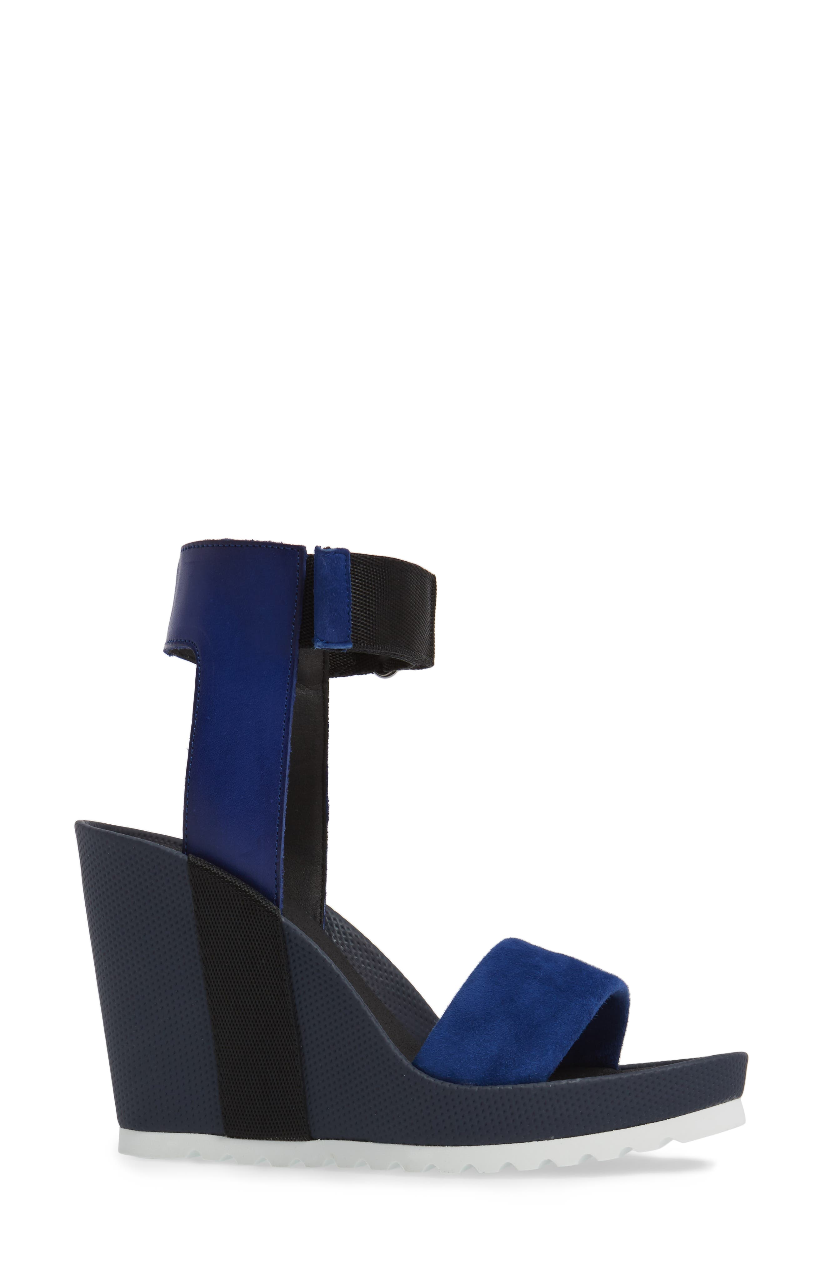 Kayleigh Wedge Sandal,                             Alternate thumbnail 3, color,                             Blue Multi Suede