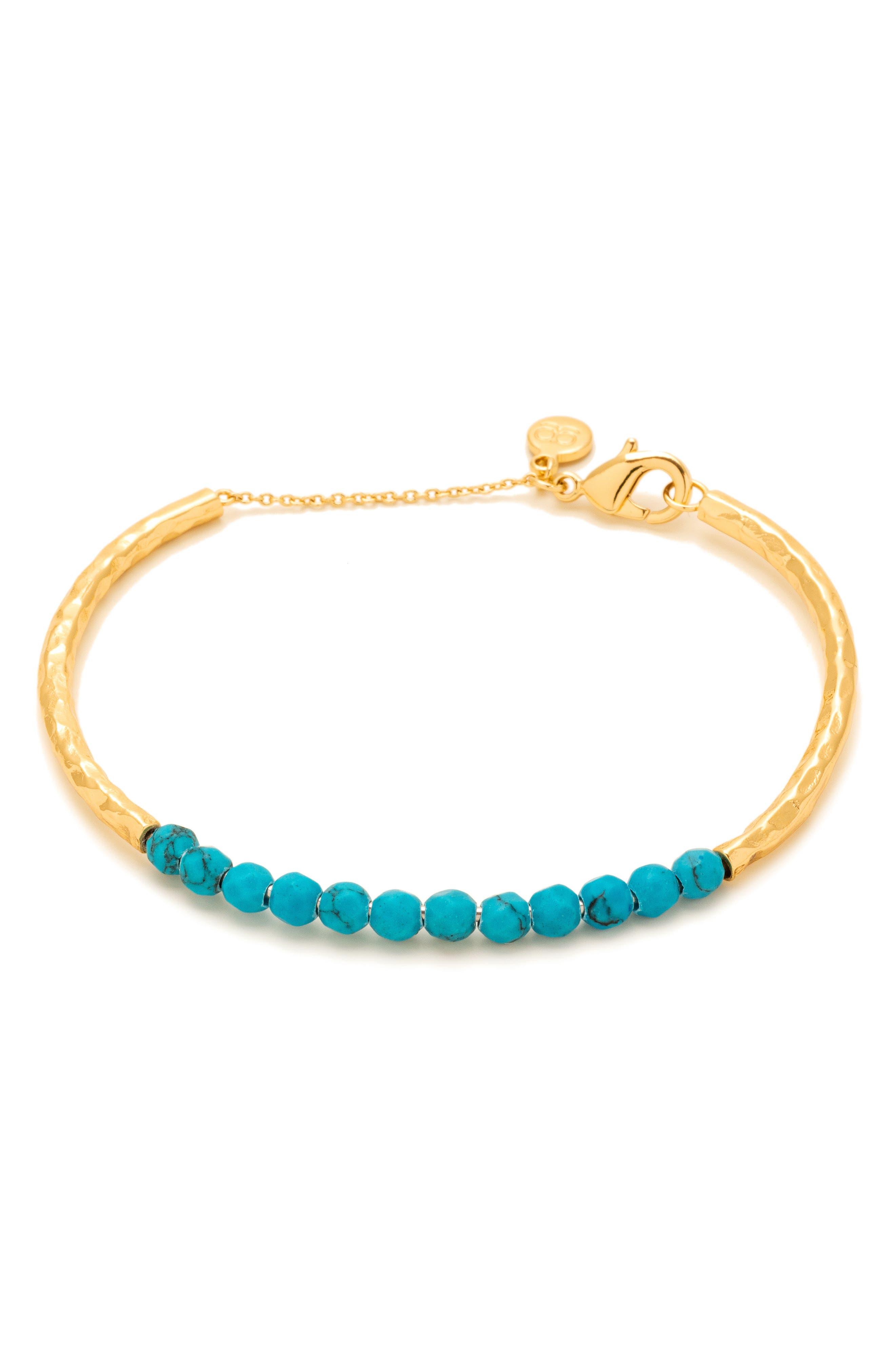 Power Stone Semiprecious Beaded Bracelet,                         Main,                         color, Turquoise / Gold