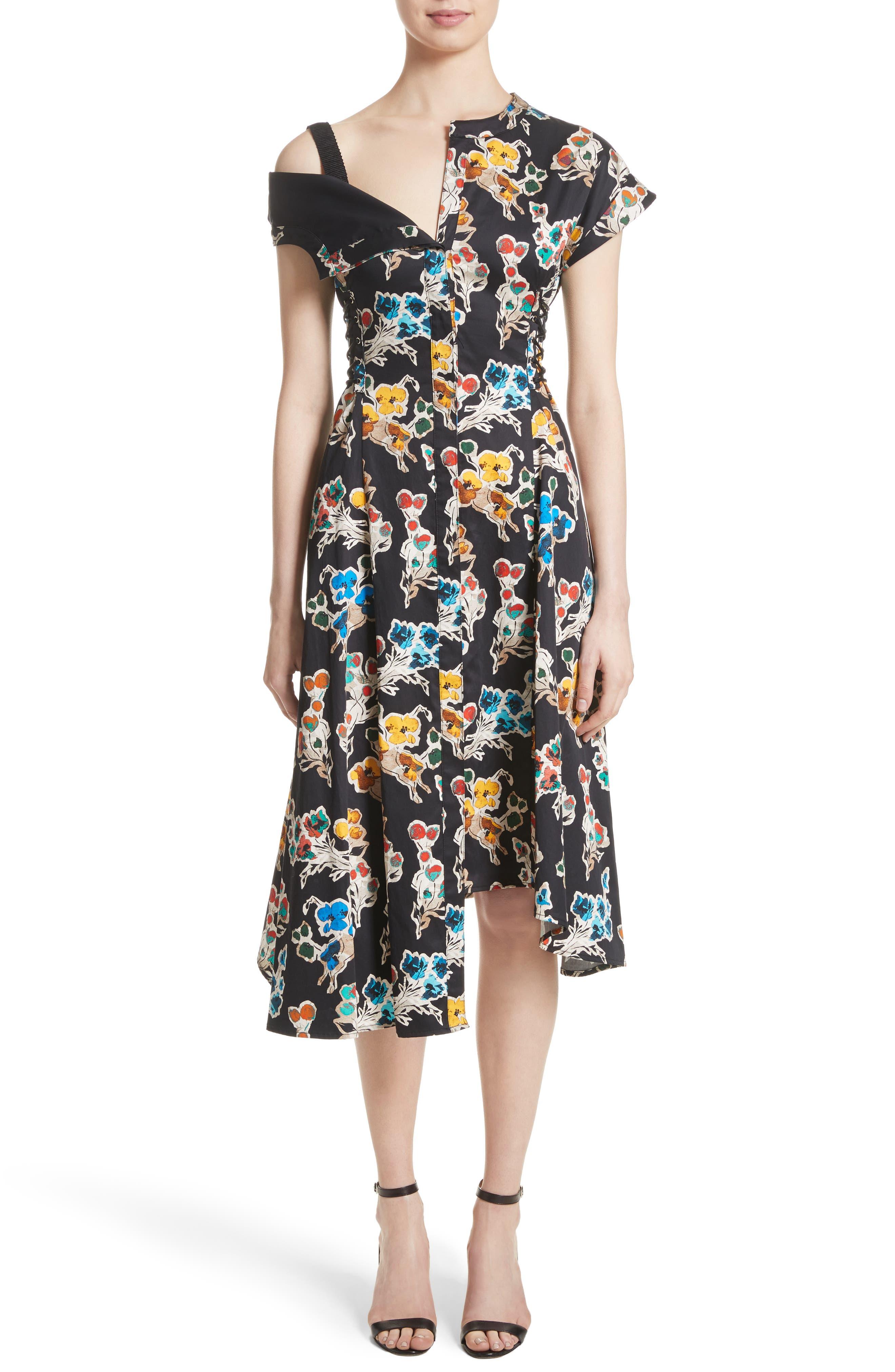 JASON WU Floral Print Asymmetrical Cotton Dress