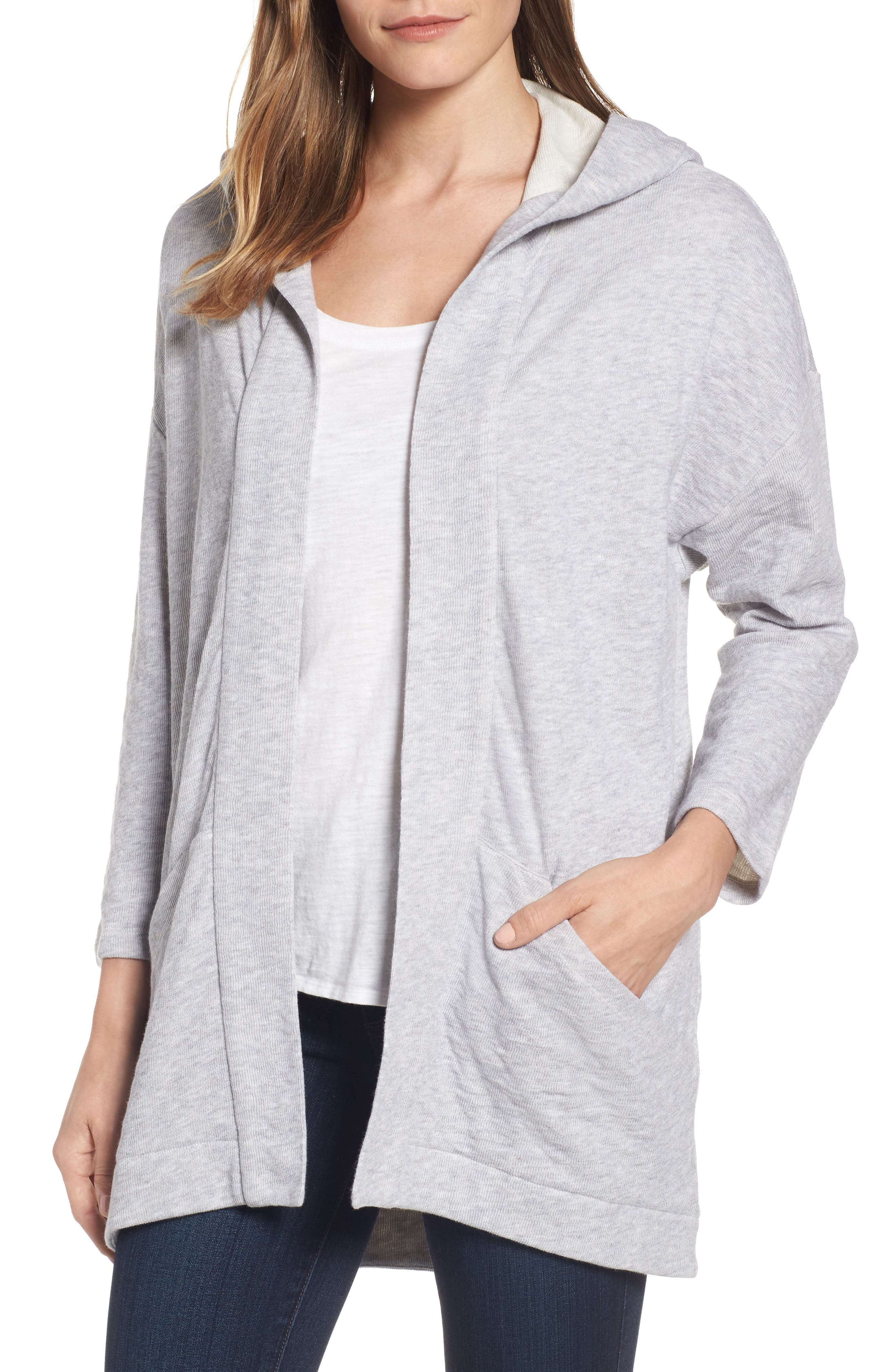 Organic Cotton Knit Hooded Jacket,                         Main,                         color, Dark Pearl