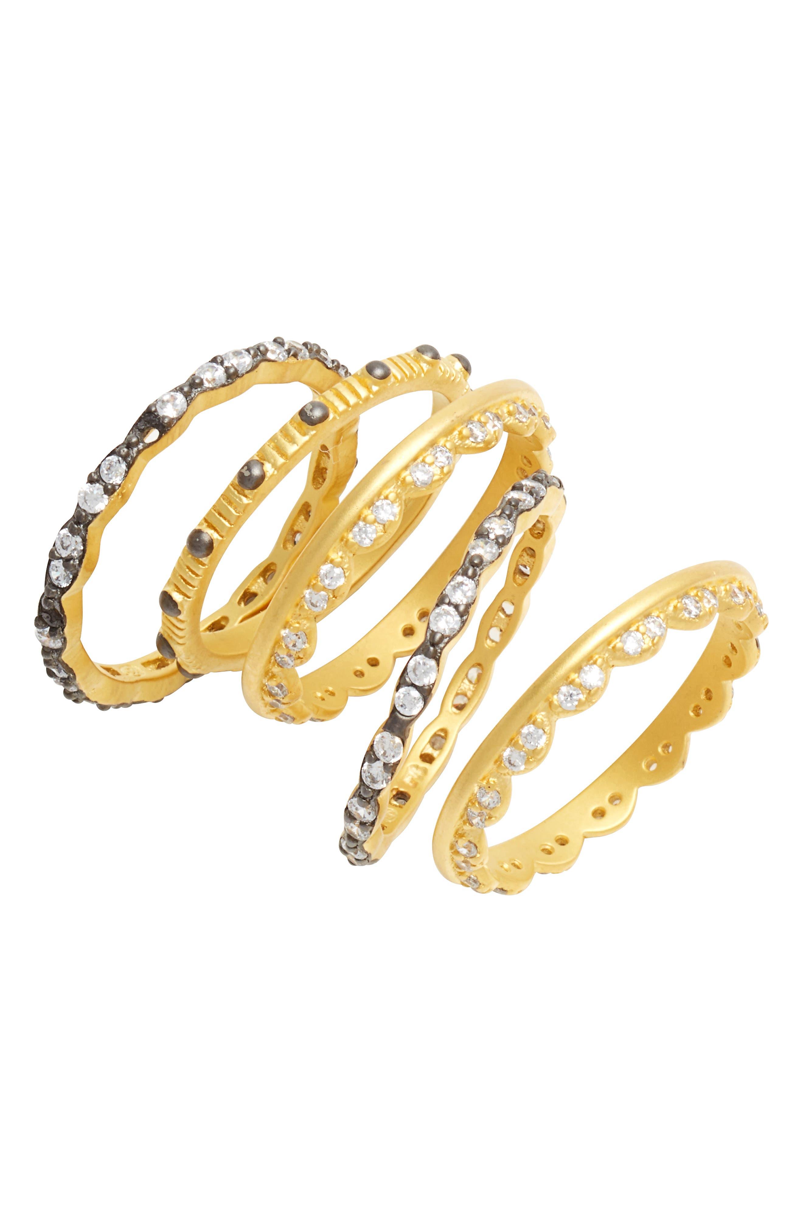 Set of 5 Stack Rings,                         Main,                         color, Gold/ Black Rhodium