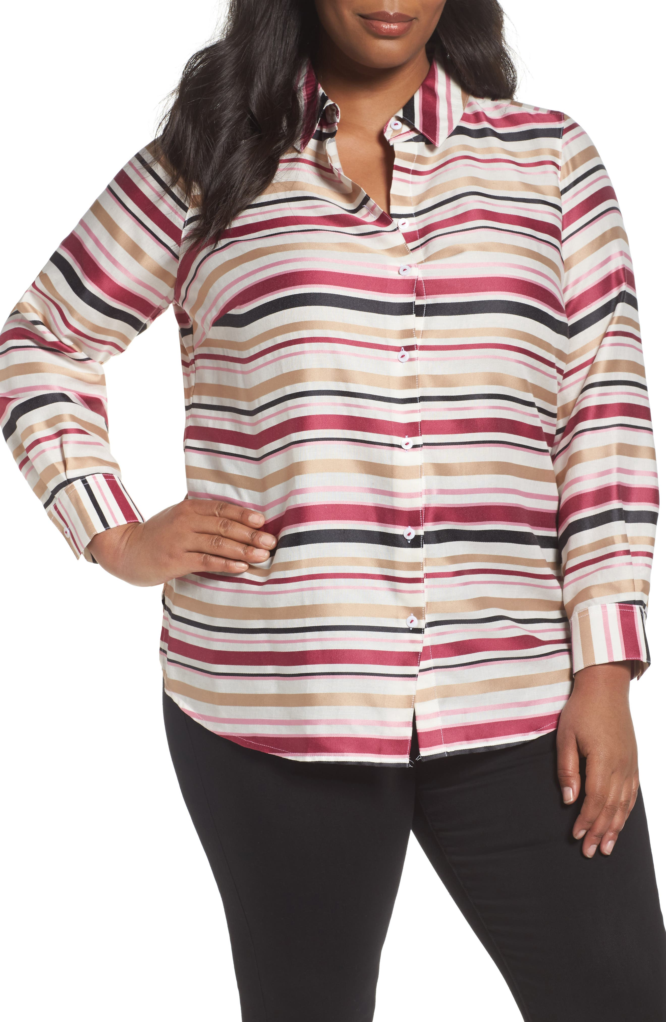 Foxcroft Satin Stripe Shirt (Plus Size)