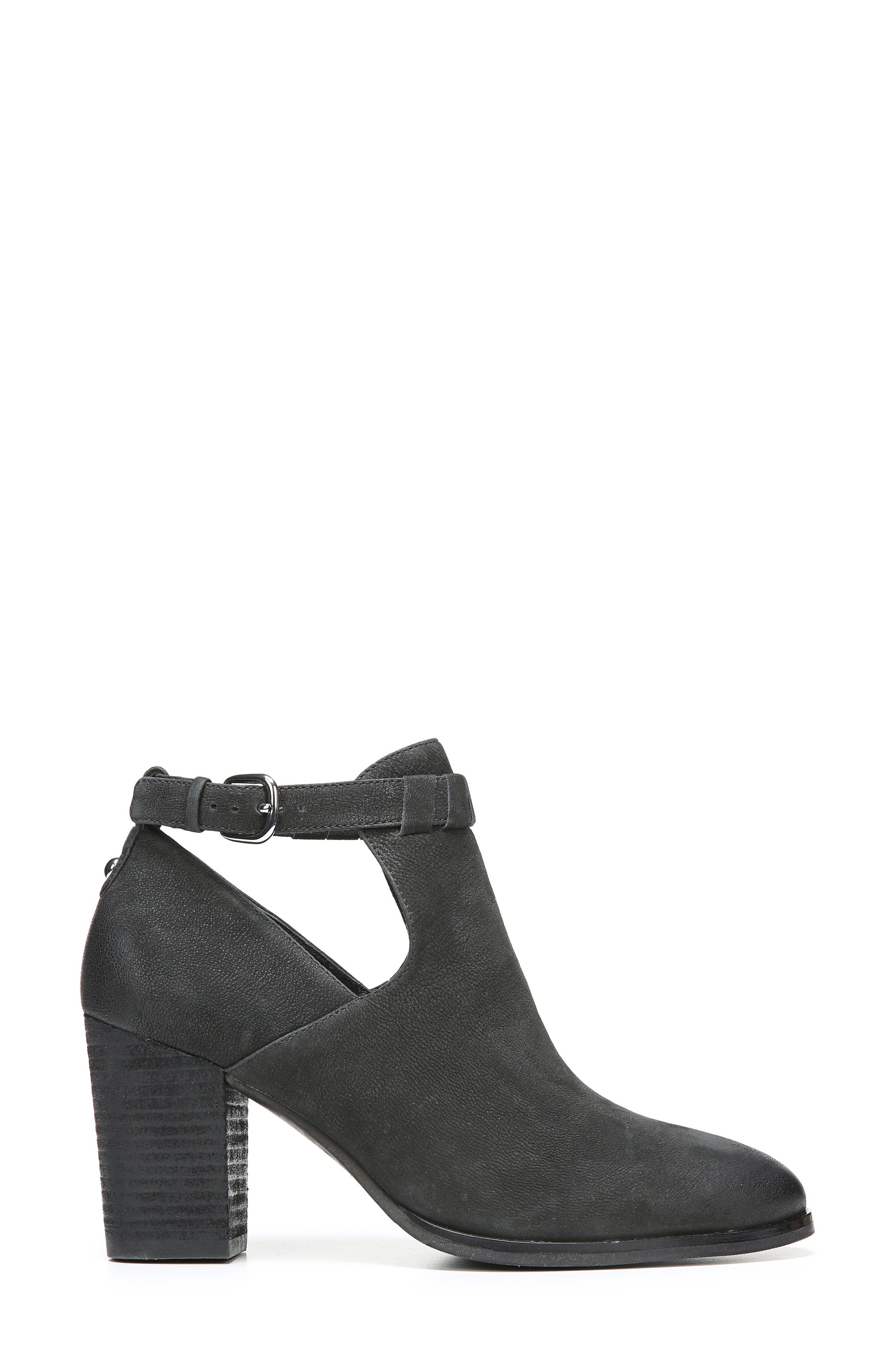 Samantha Block Heel Bootie,                             Alternate thumbnail 3, color,                             Black Nubuck