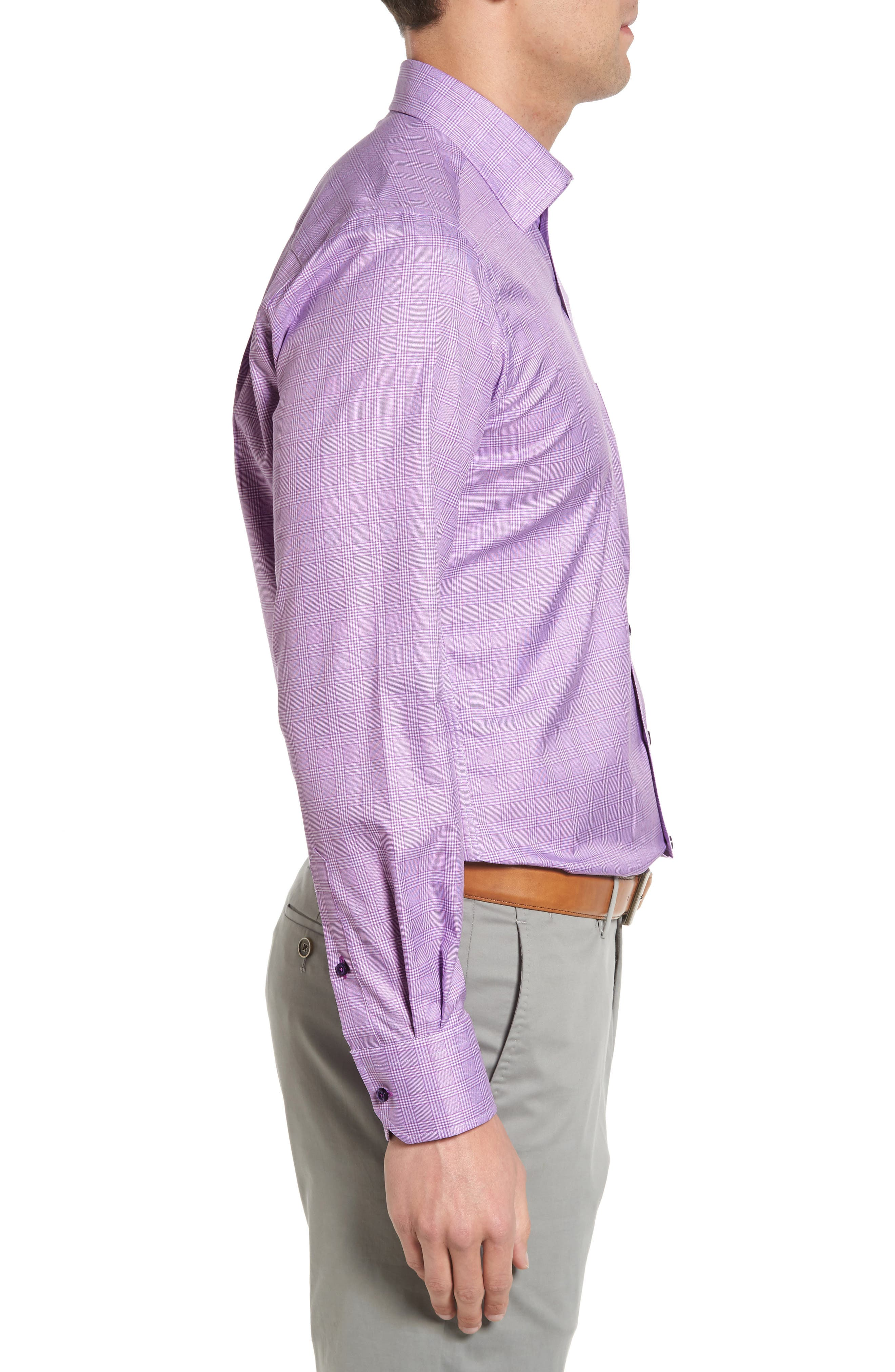 Regular Fit Plaid Sport Shirt,                             Alternate thumbnail 3, color,                             Lilac