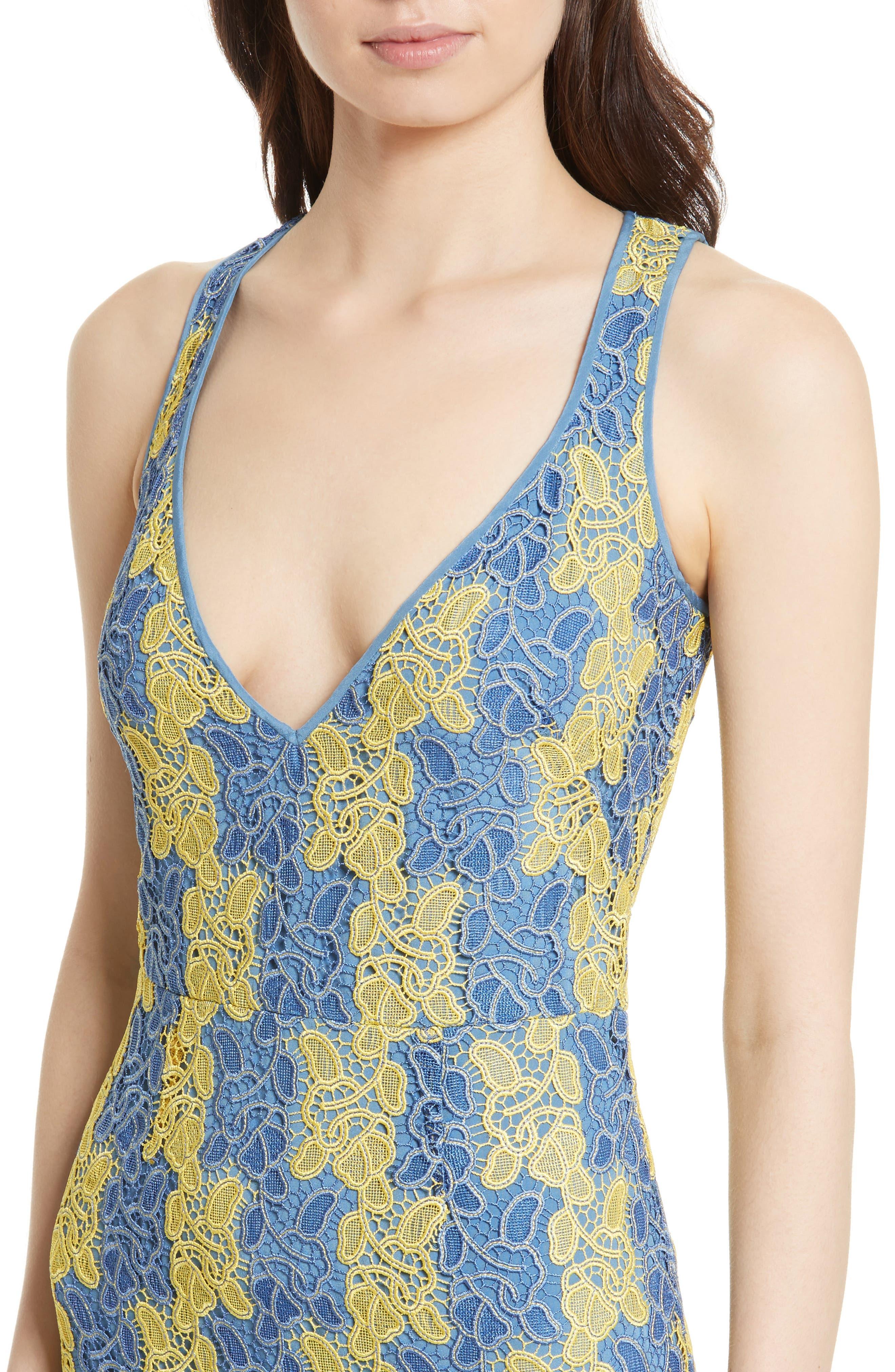 Lace Midi Dress,                             Alternate thumbnail 4, color,                             Denim/ Lemon