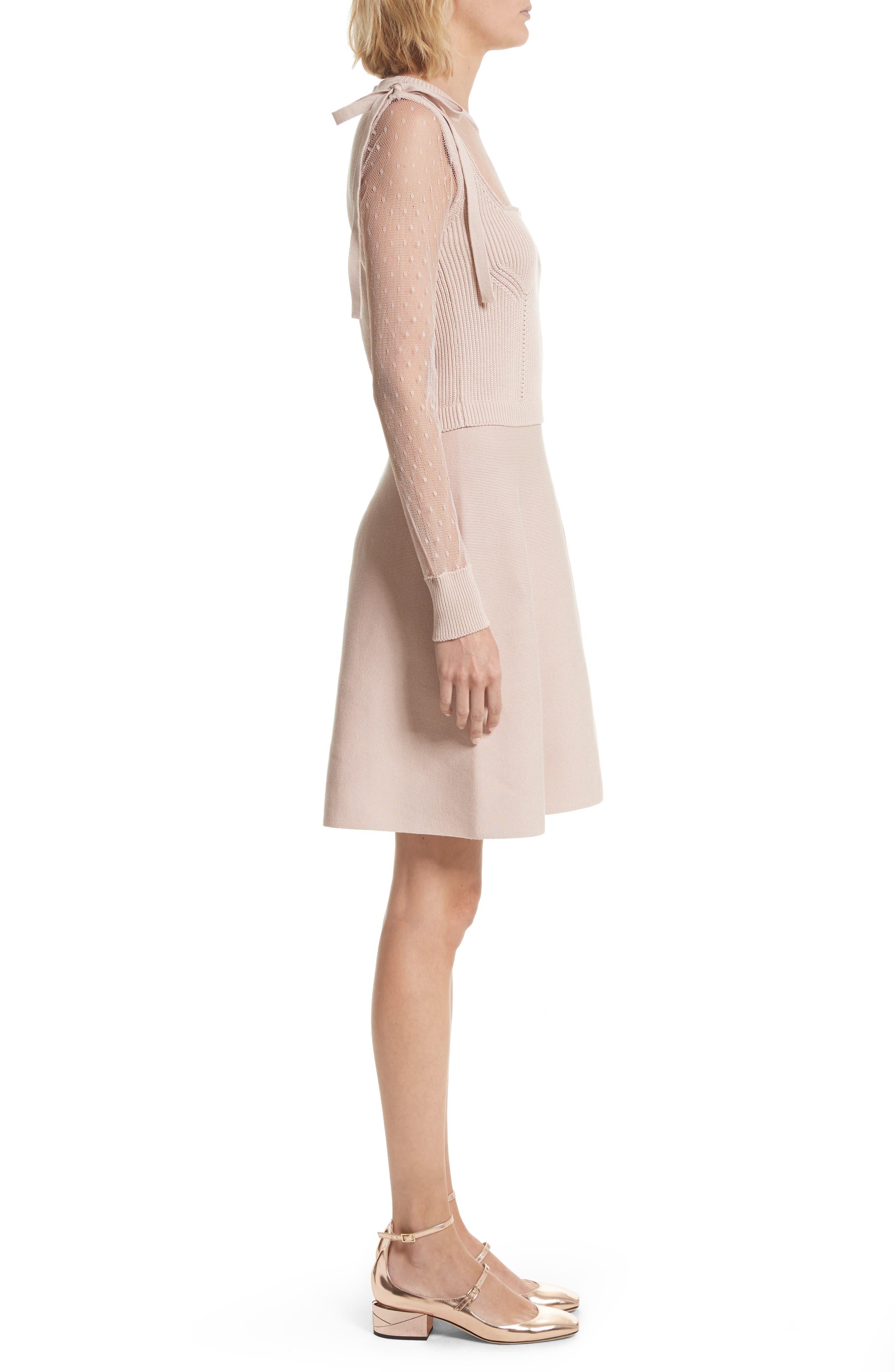 Point d'Esprit Cotton Dress,                             Alternate thumbnail 3, color,                             Nude