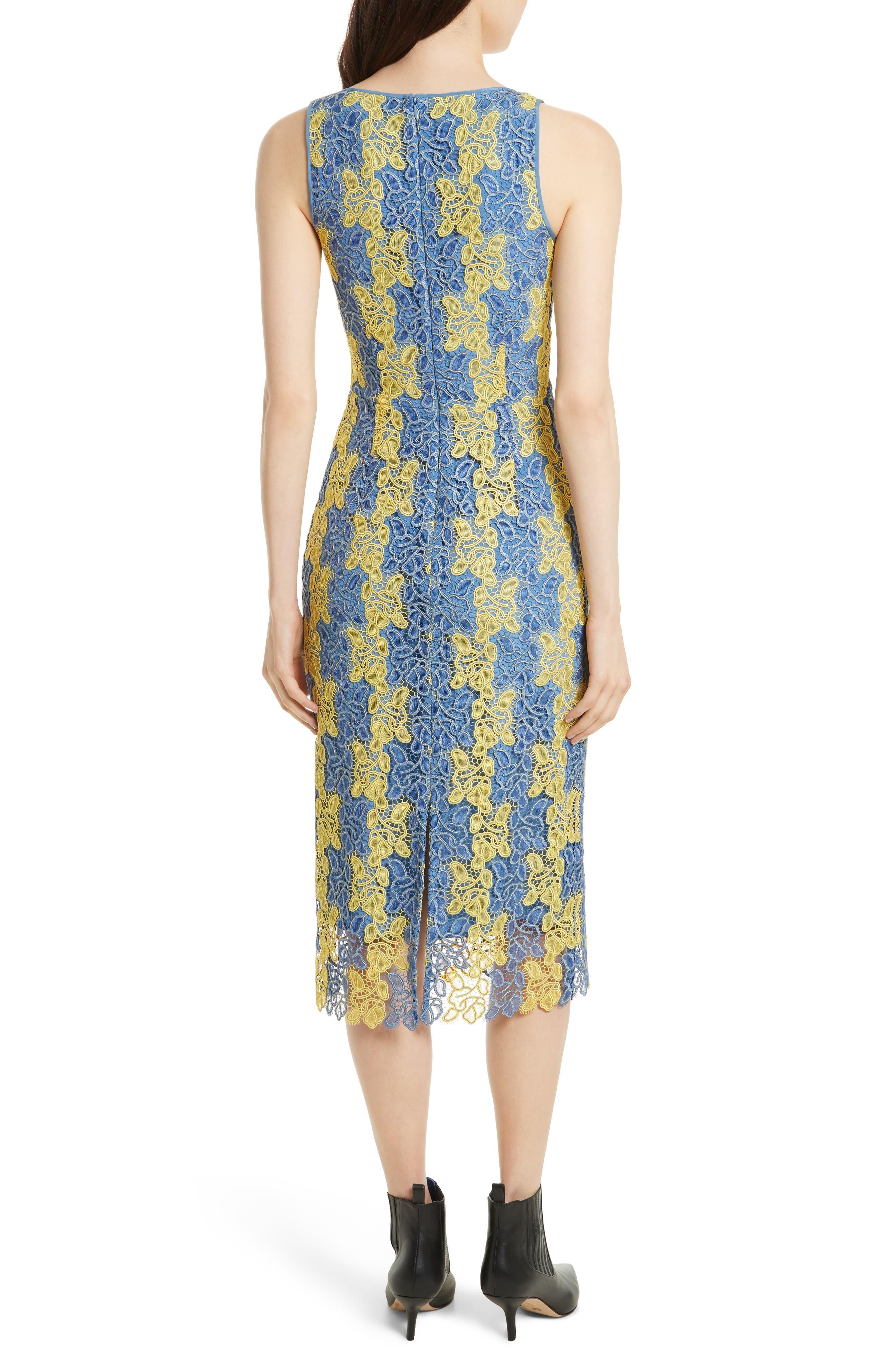 Lace Midi Dress,                             Alternate thumbnail 2, color,                             Denim/ Lemon