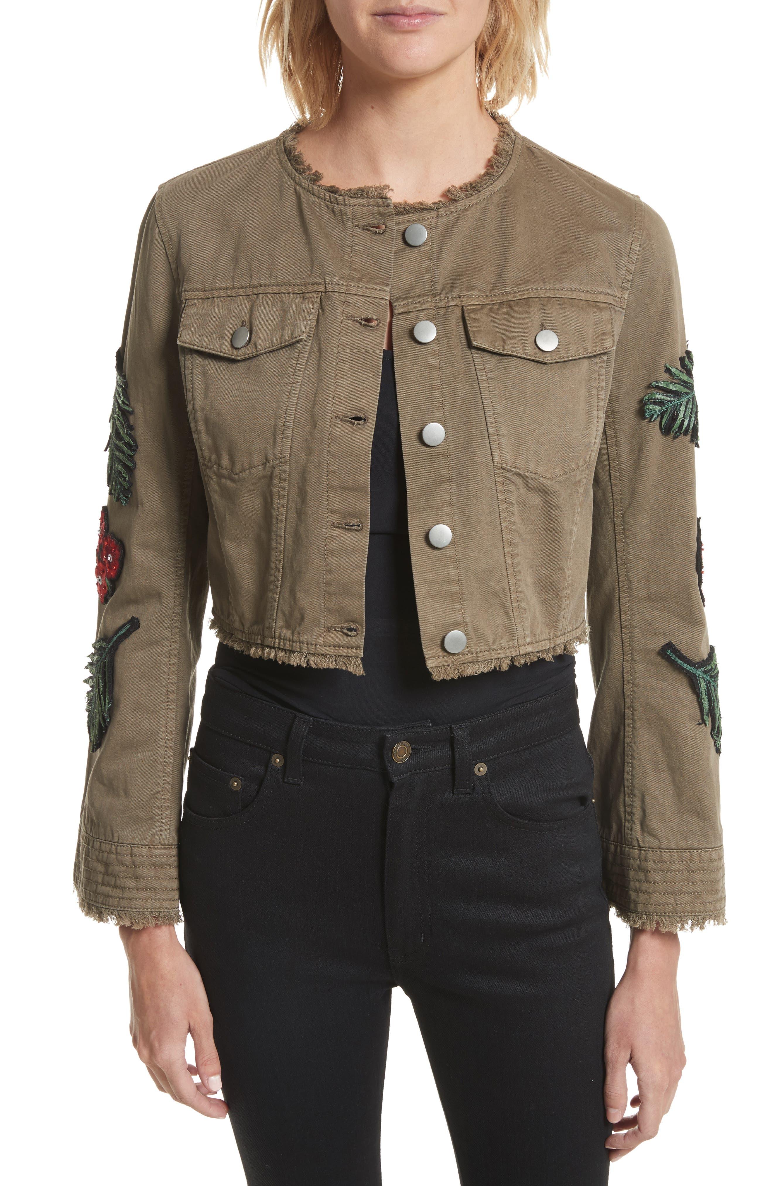 Main Image - Cinq à Sept Halina Embellished Crop Jacket
