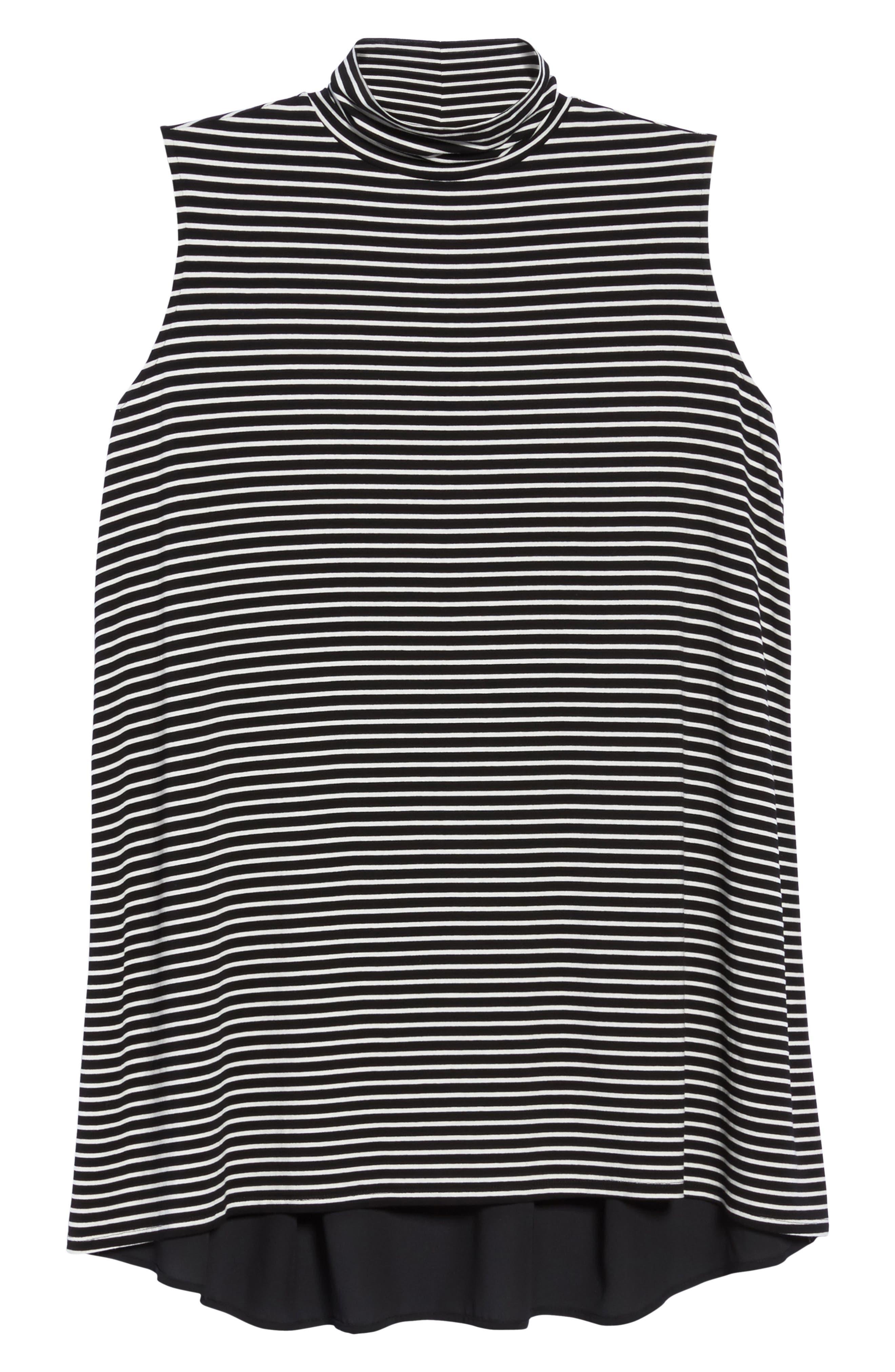 Stripe Mixed Media Turtleneck,                             Alternate thumbnail 6, color,                             Rich Black