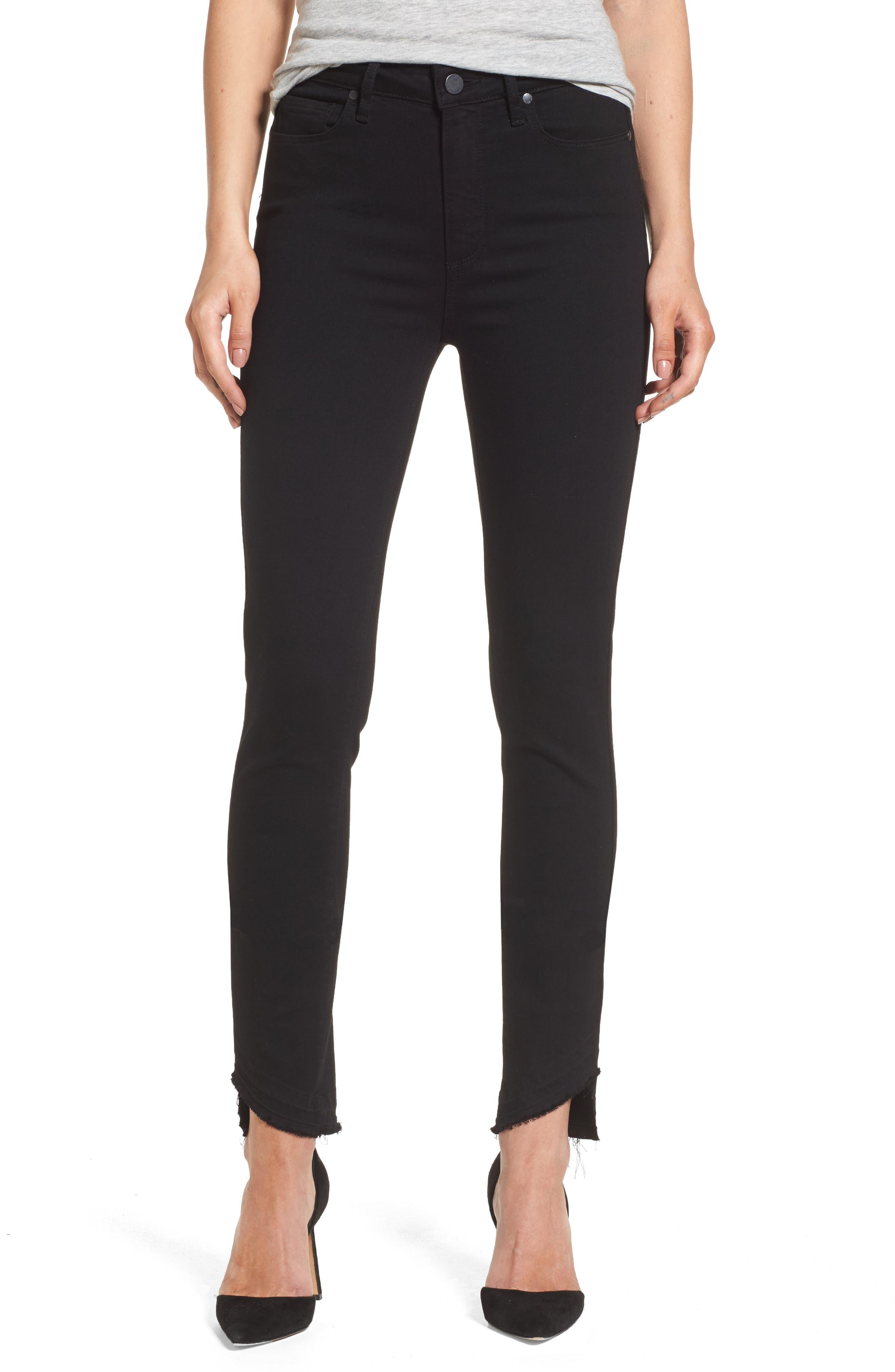 Transcend Hoxton High Waist Undone Hem Skinny Jeans,                         Main,                         color, Black Shadow