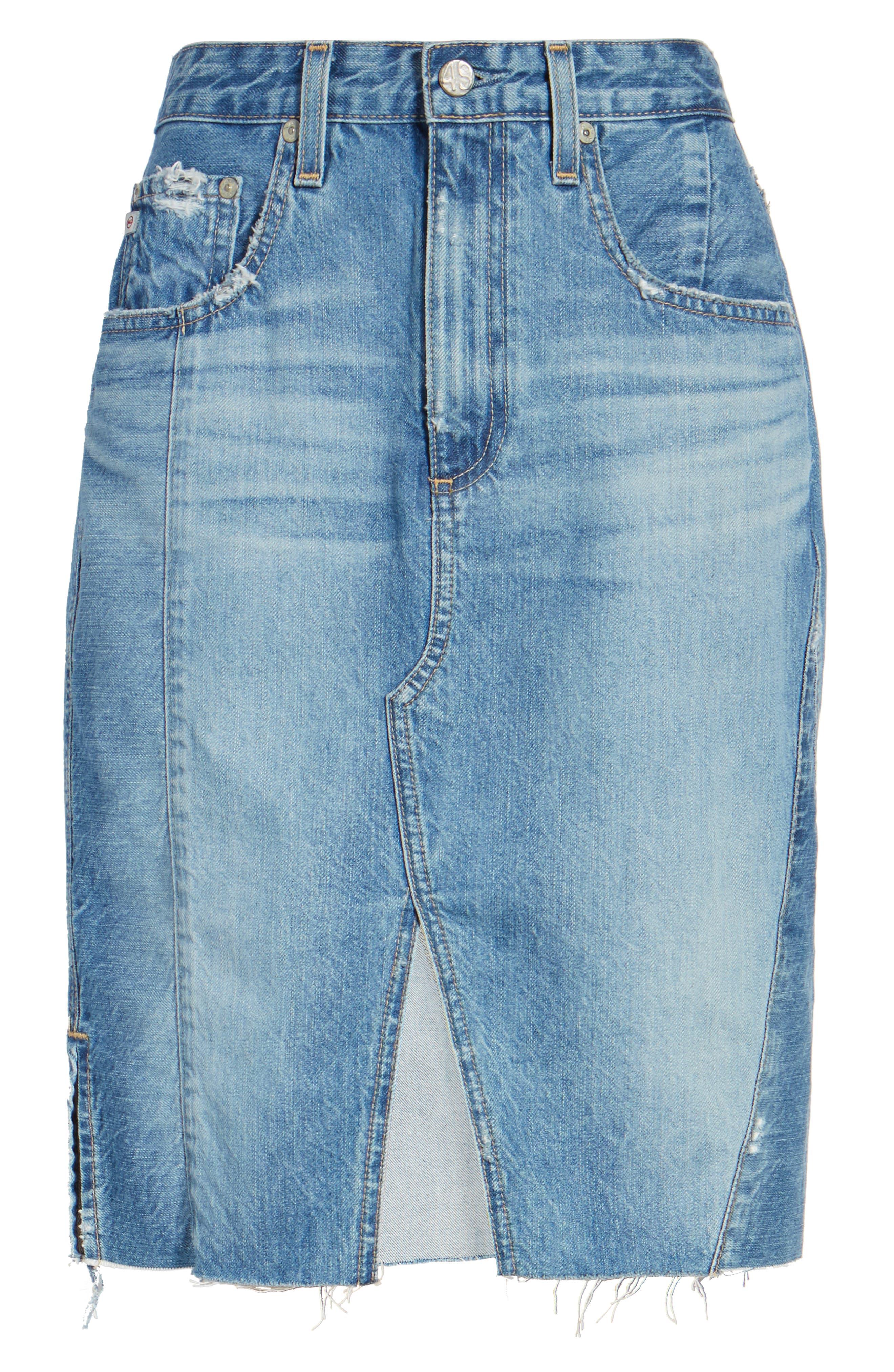 Alternate Image 6  - AG The Emery High Waist Denim Skirt (18 Years Blue Fawn)