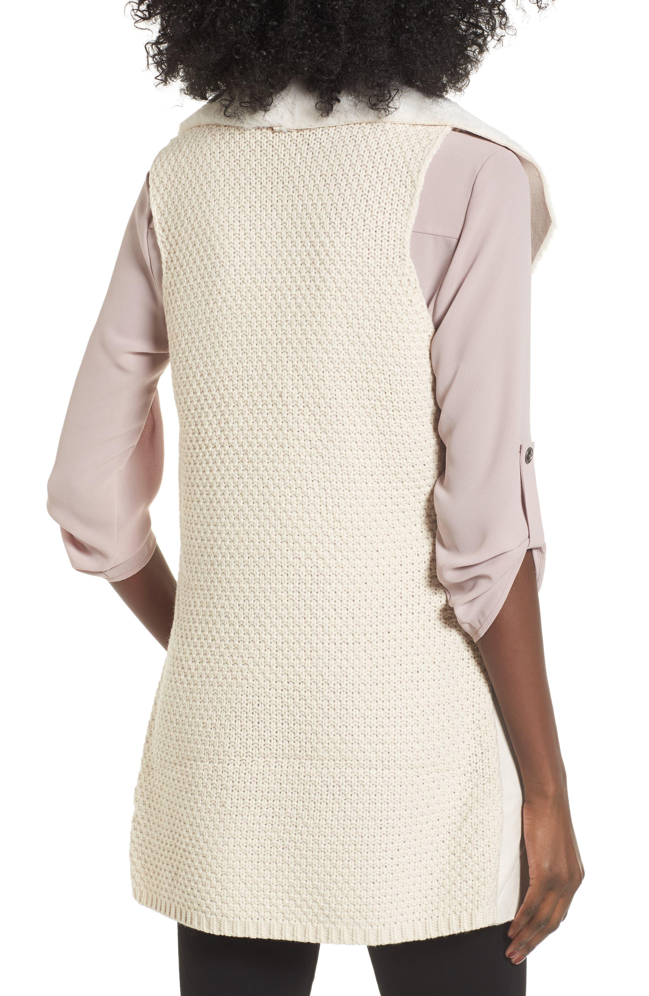 Faux Shearling Vest,                             Alternate thumbnail 2, color,                             Ivory