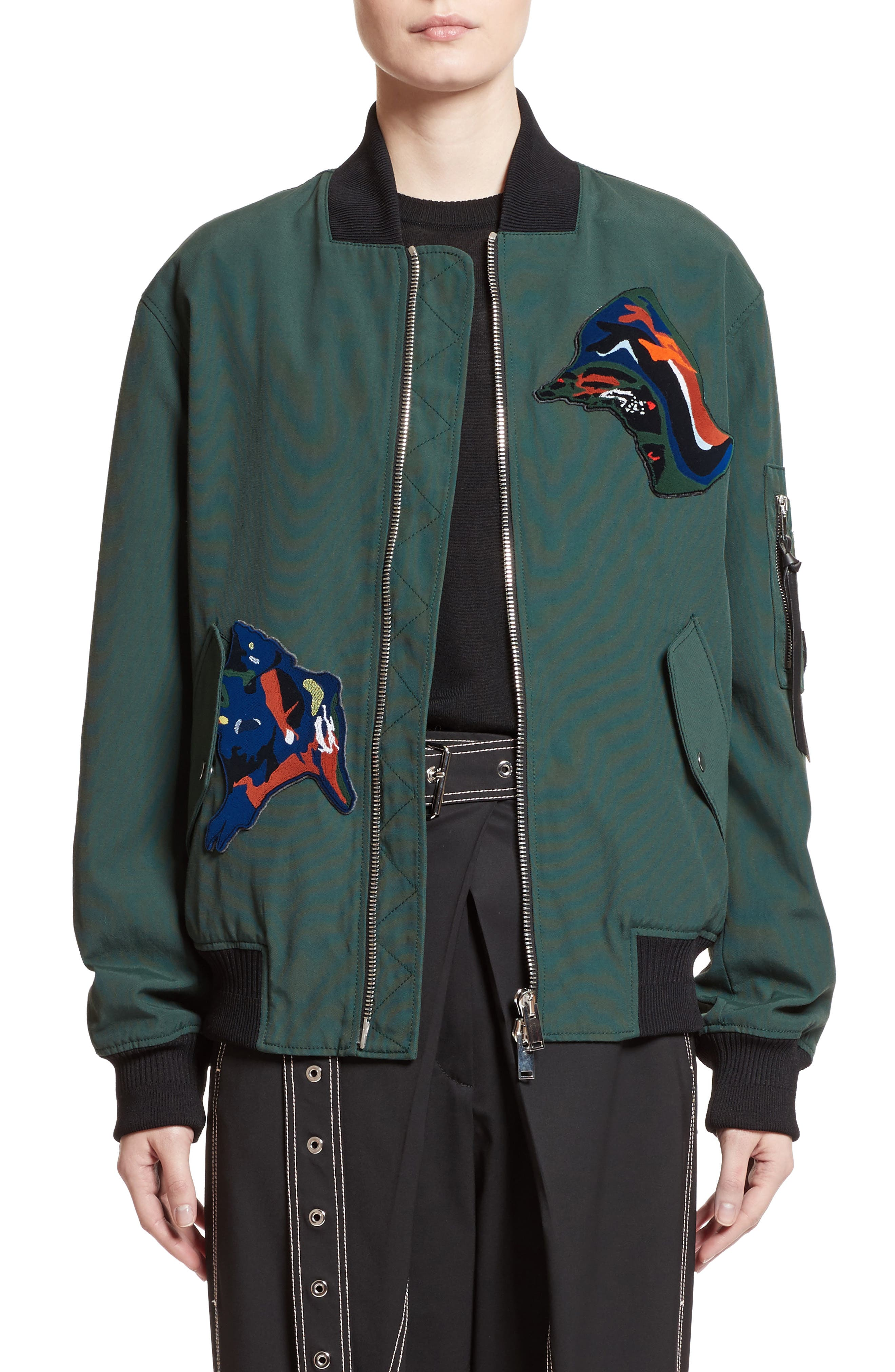 Patch Embellished Bomber Jacket,                             Main thumbnail 1, color,                             Deep Pine