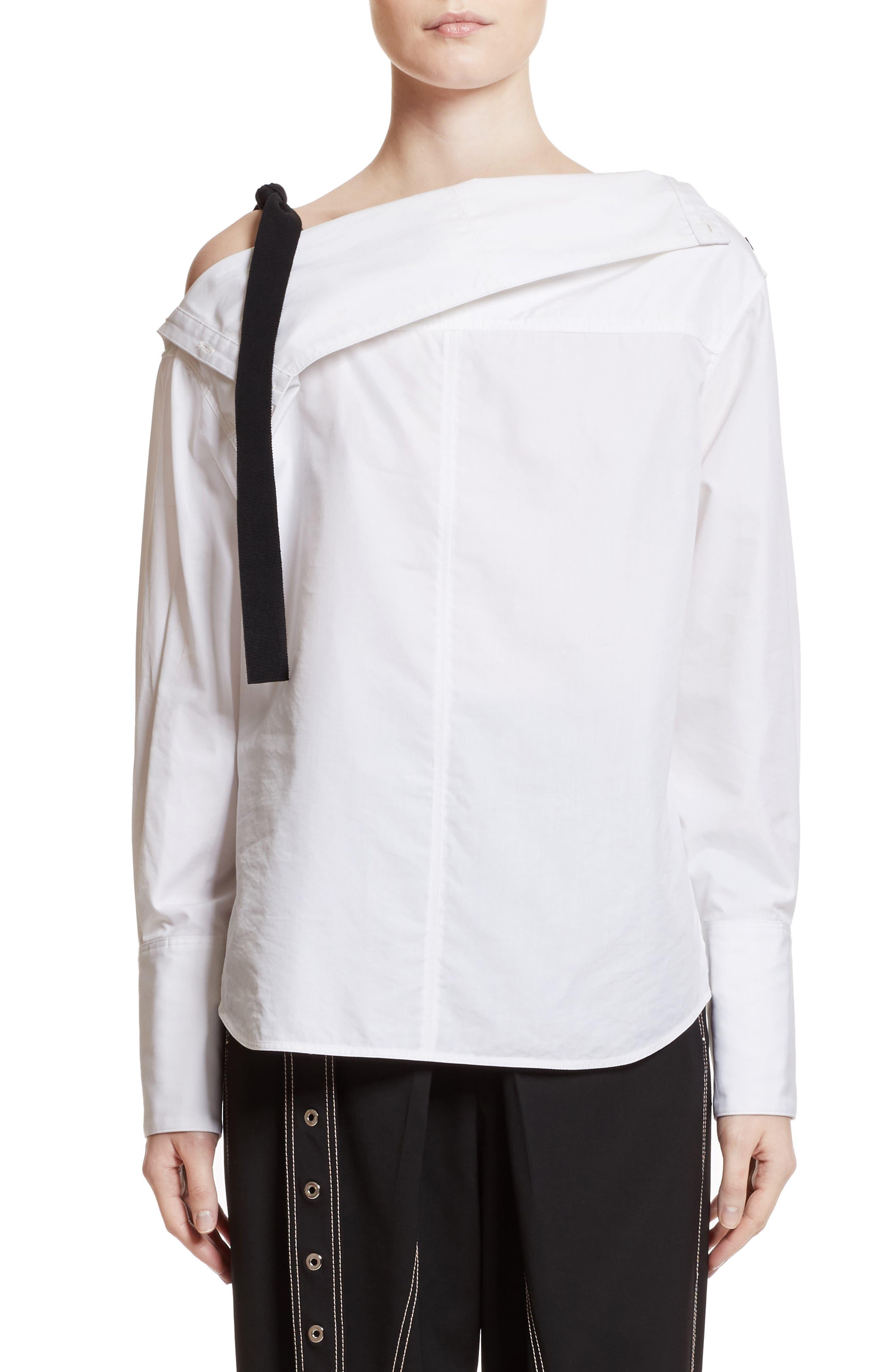 Asymmetrical Cold Shoulder Top,                         Main,                         color, Optic White