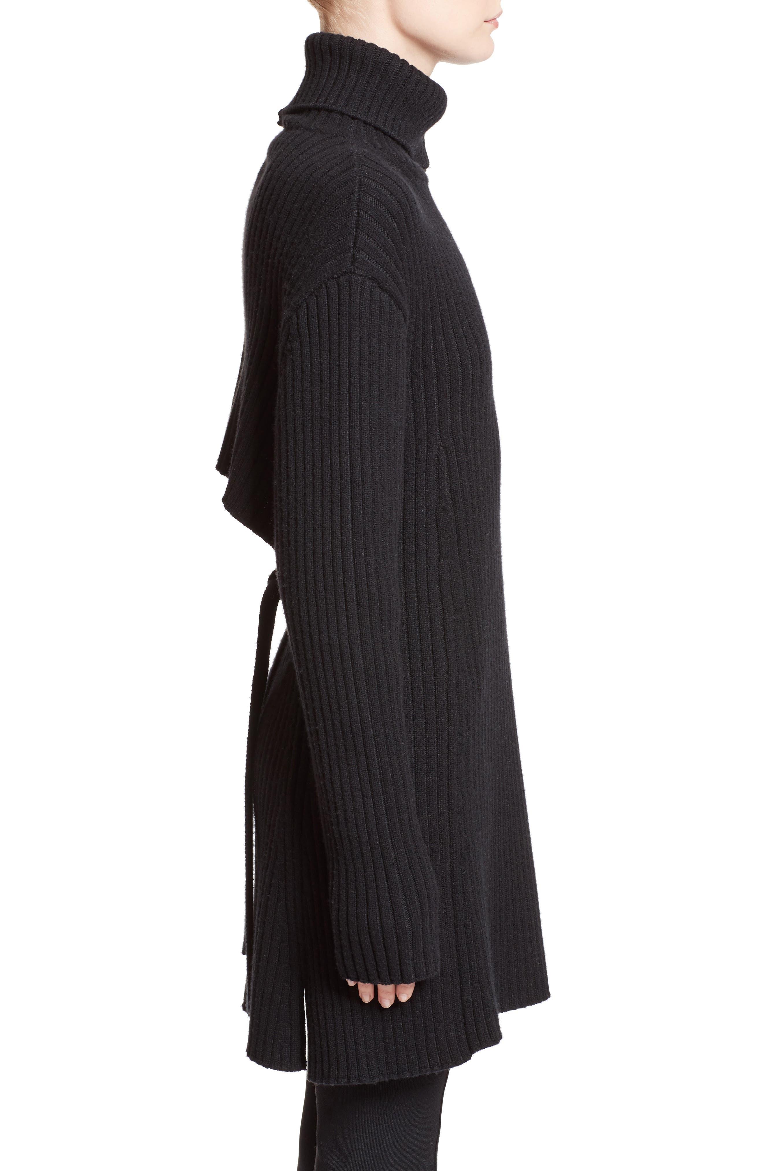 Wool & Cashmere Blend Turtleneck Dress,                             Alternate thumbnail 4, color,                             Black
