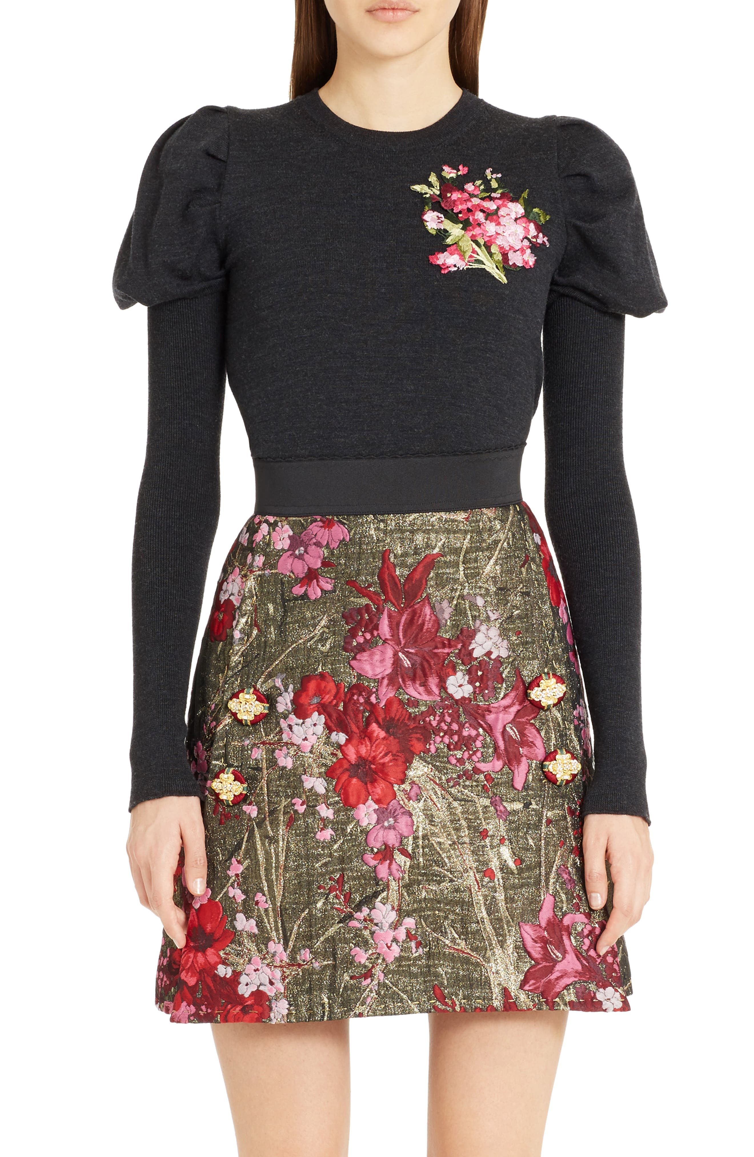 DOLCE&GABBANA Embroidered Wool Puff Sleeve Sweater