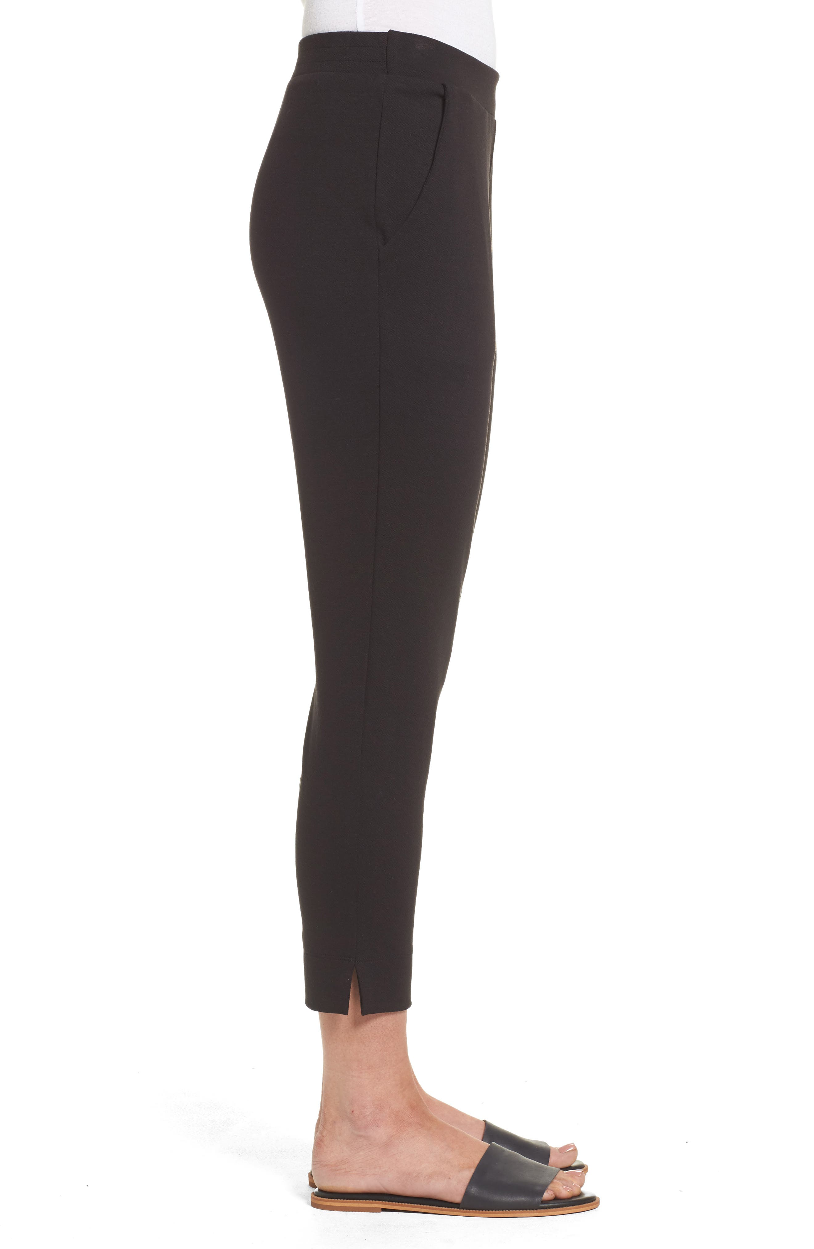 Brighton Crop Knit Cigarette Pants,                             Alternate thumbnail 3, color,                             Black
