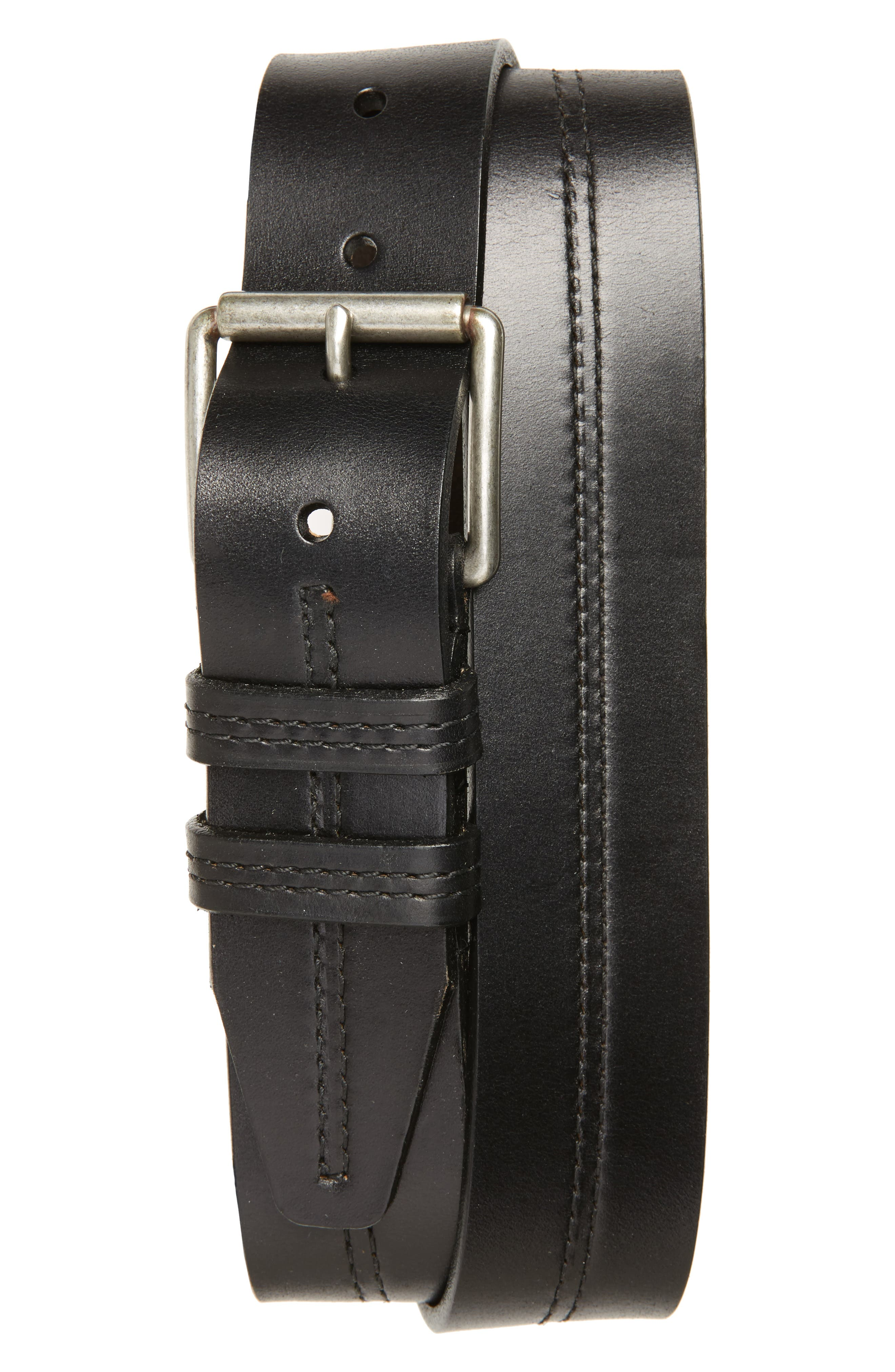 Mason Center Stitch Horween<sup>®</sup> Leather Belt,                             Main thumbnail 1, color,                             Black