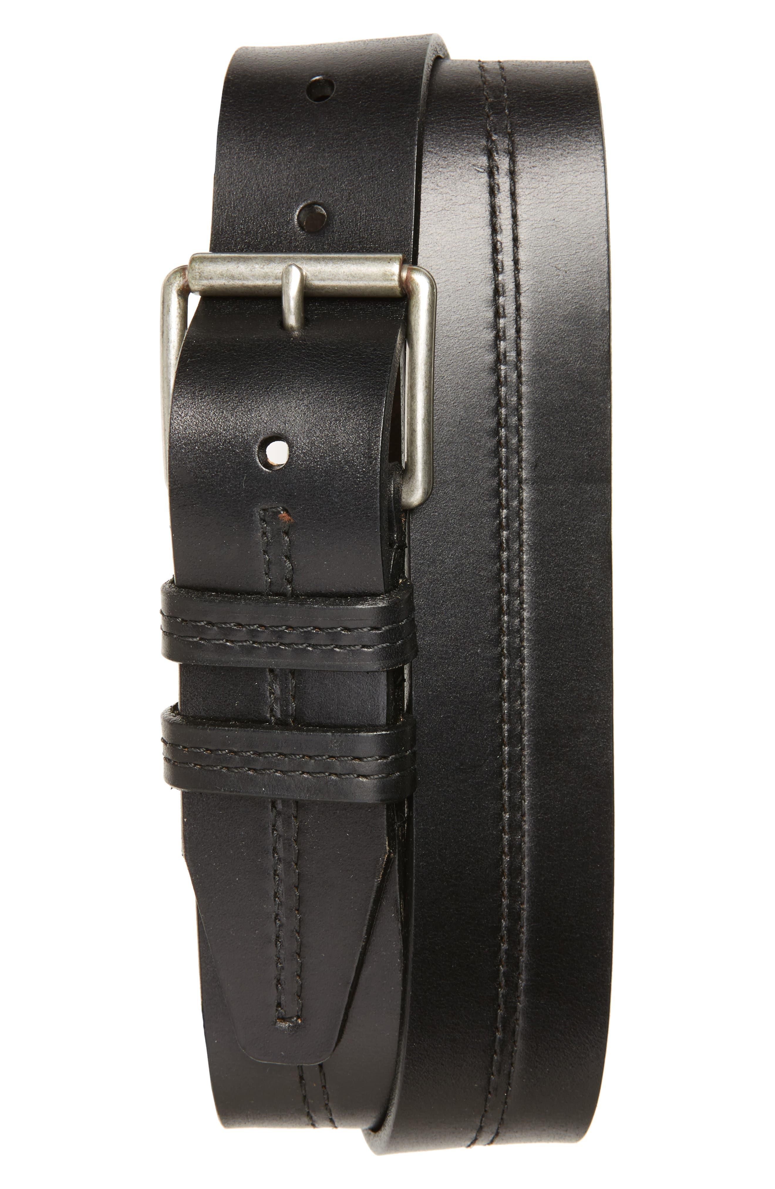 Mason Center Stitch Horween<sup>®</sup> Leather Belt,                         Main,                         color, Black