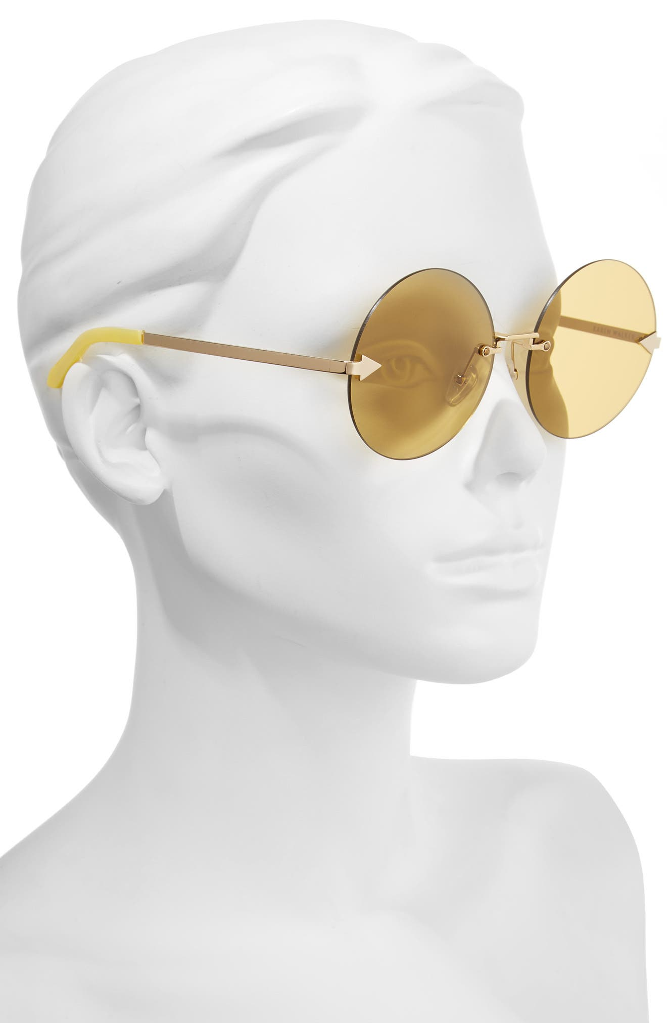 Disco Circus 60mm Rimless Round Sunglasses,                             Alternate thumbnail 3, color,                             Marigold/ Gold