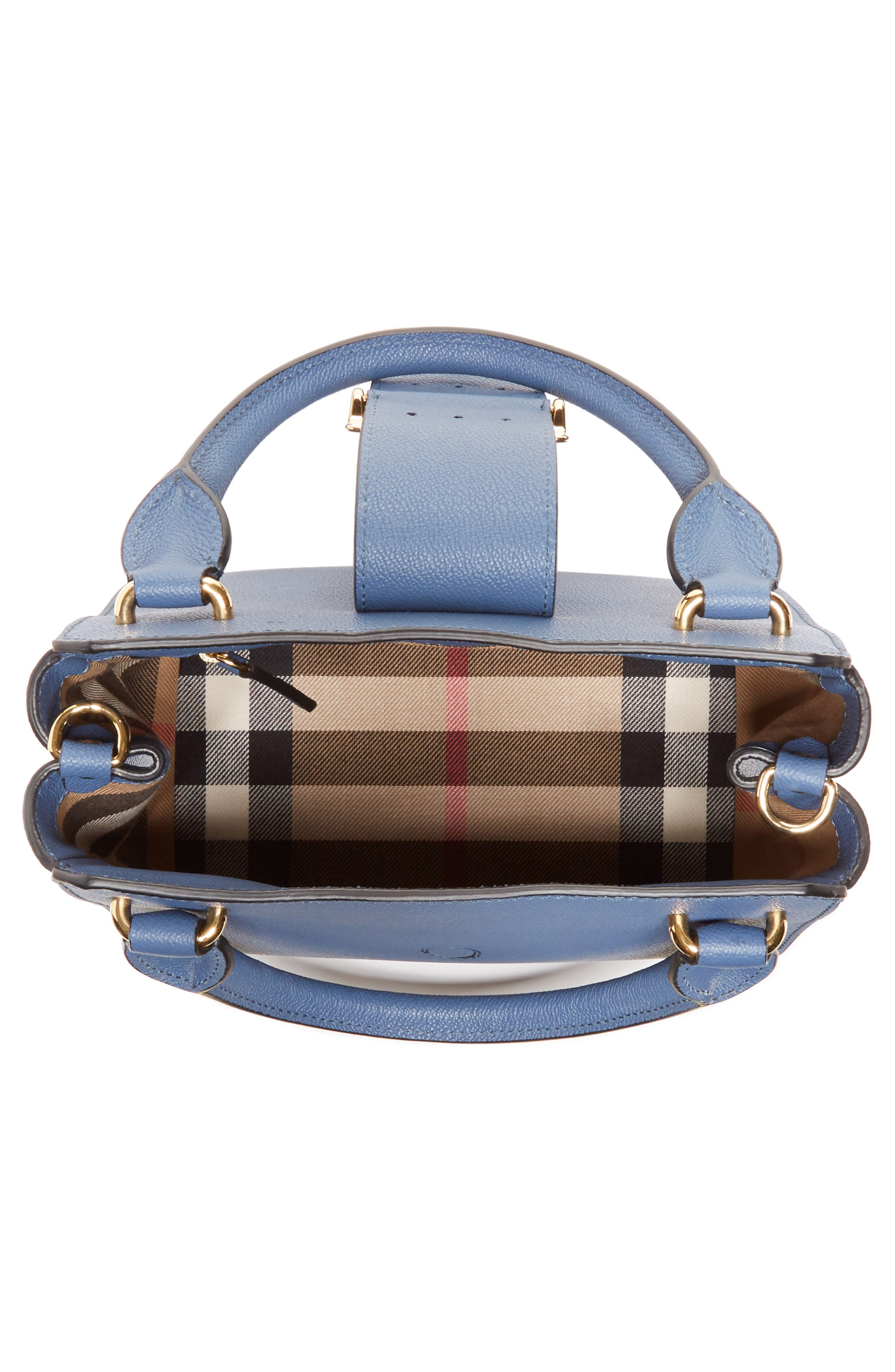 Small Buckle Leather Satchel,                             Alternate thumbnail 4, color,                             Steel Blue