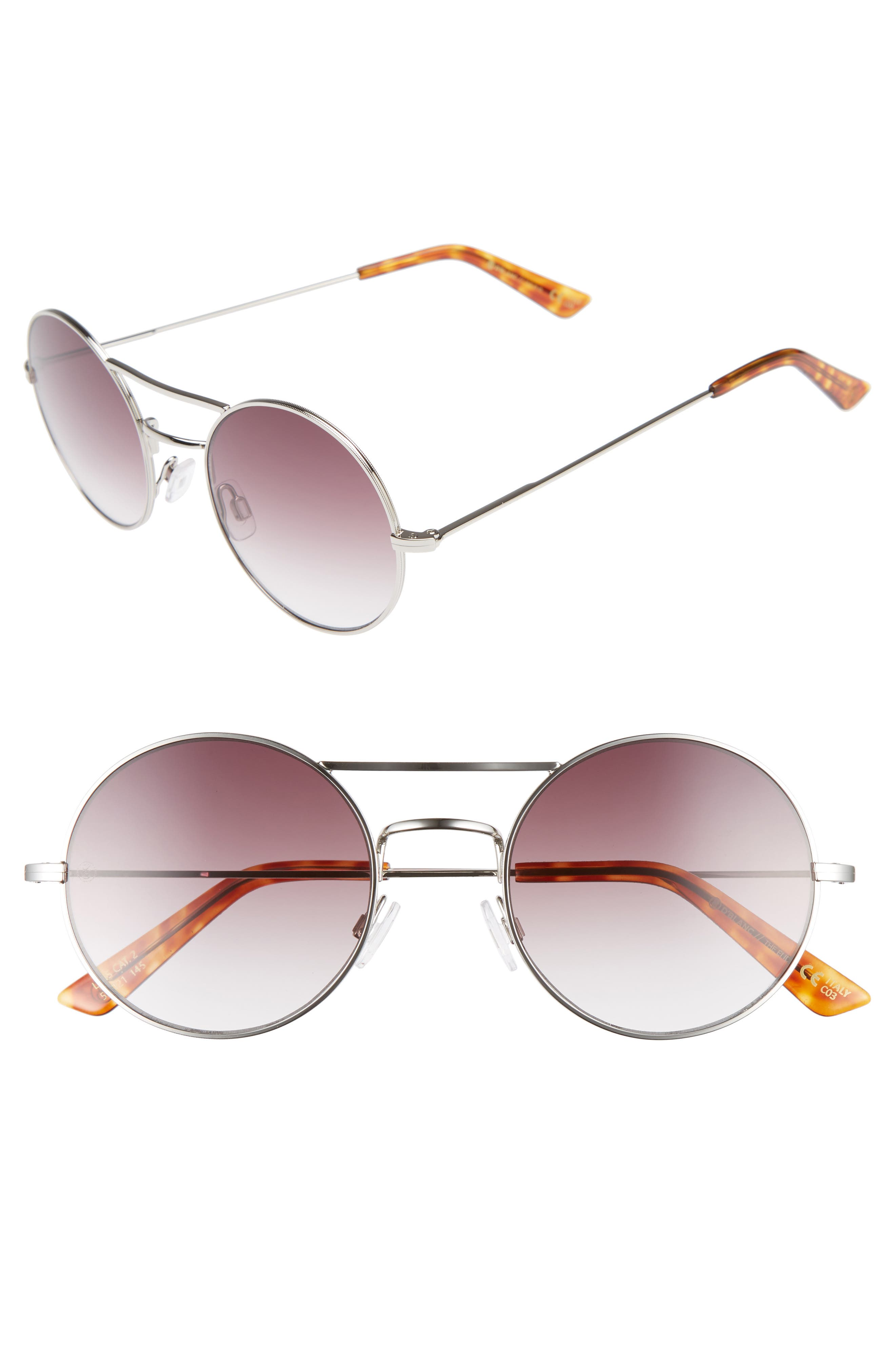 D'BLANC The End 52mm Gradient Round Sunglasses,                         Main,                         color, Polished Nickel/ Retro Grey