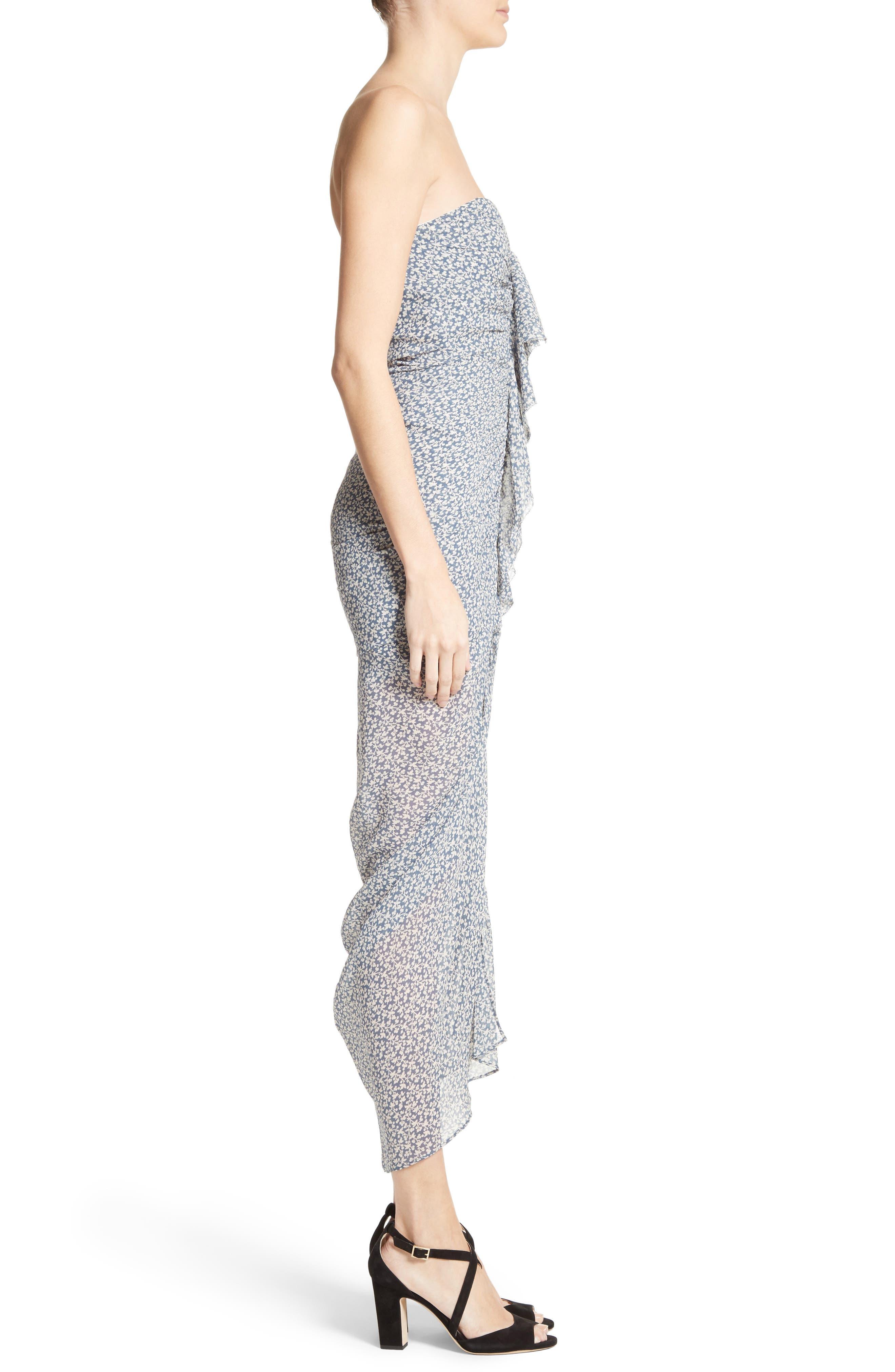 Wallflower Print Silk Strapless Dress,                             Alternate thumbnail 4, color,                             Cream/ Vintage Blue