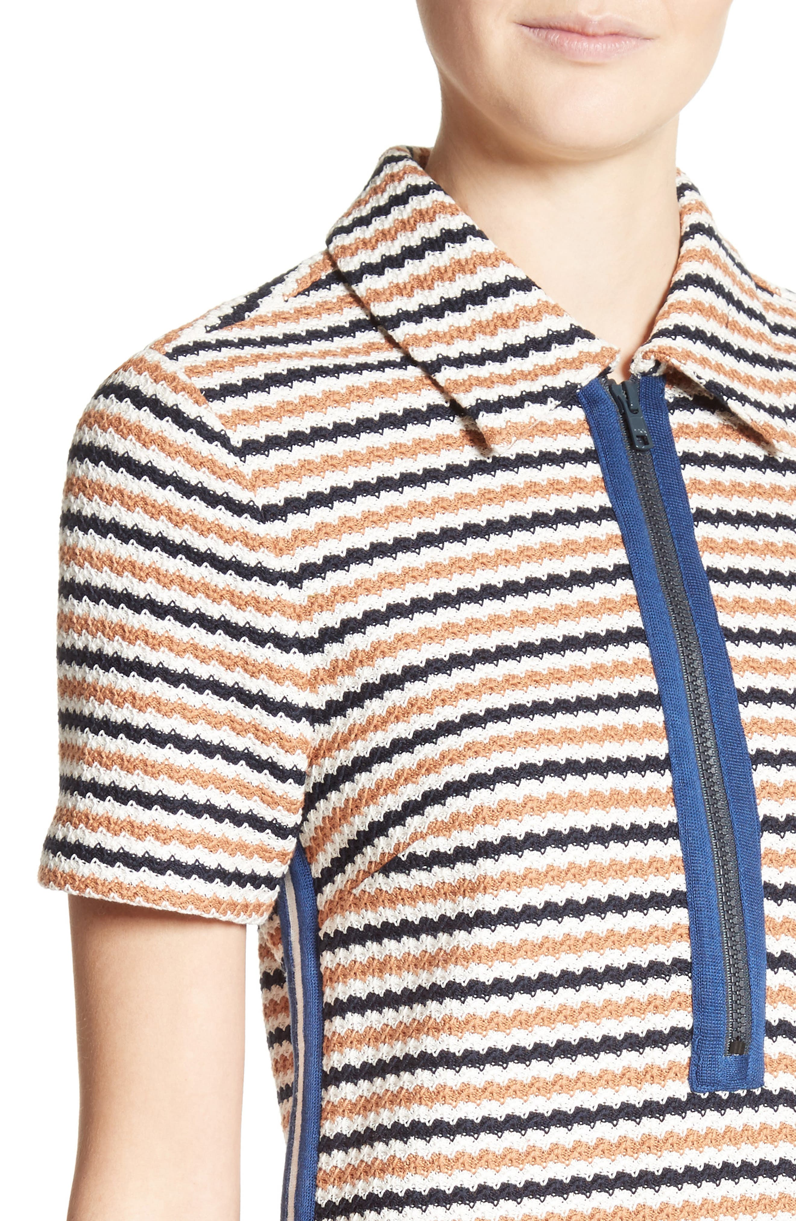 Shay Polo Dress,                             Alternate thumbnail 4, color,                             Navy/ Cream/ Golden Red