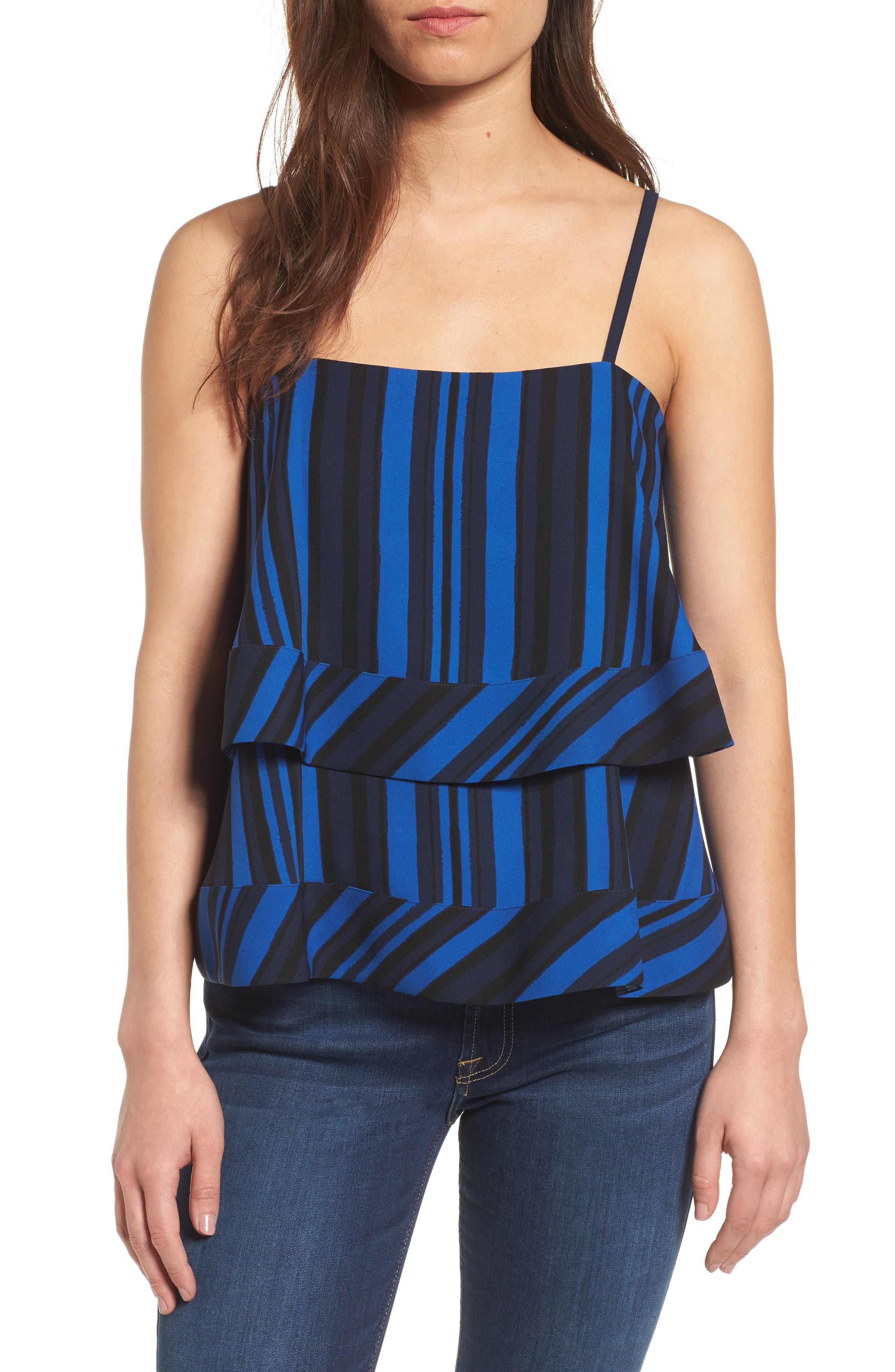 Lila Tiered Tank,                             Main thumbnail 1, color,                             Blue Stripe Print