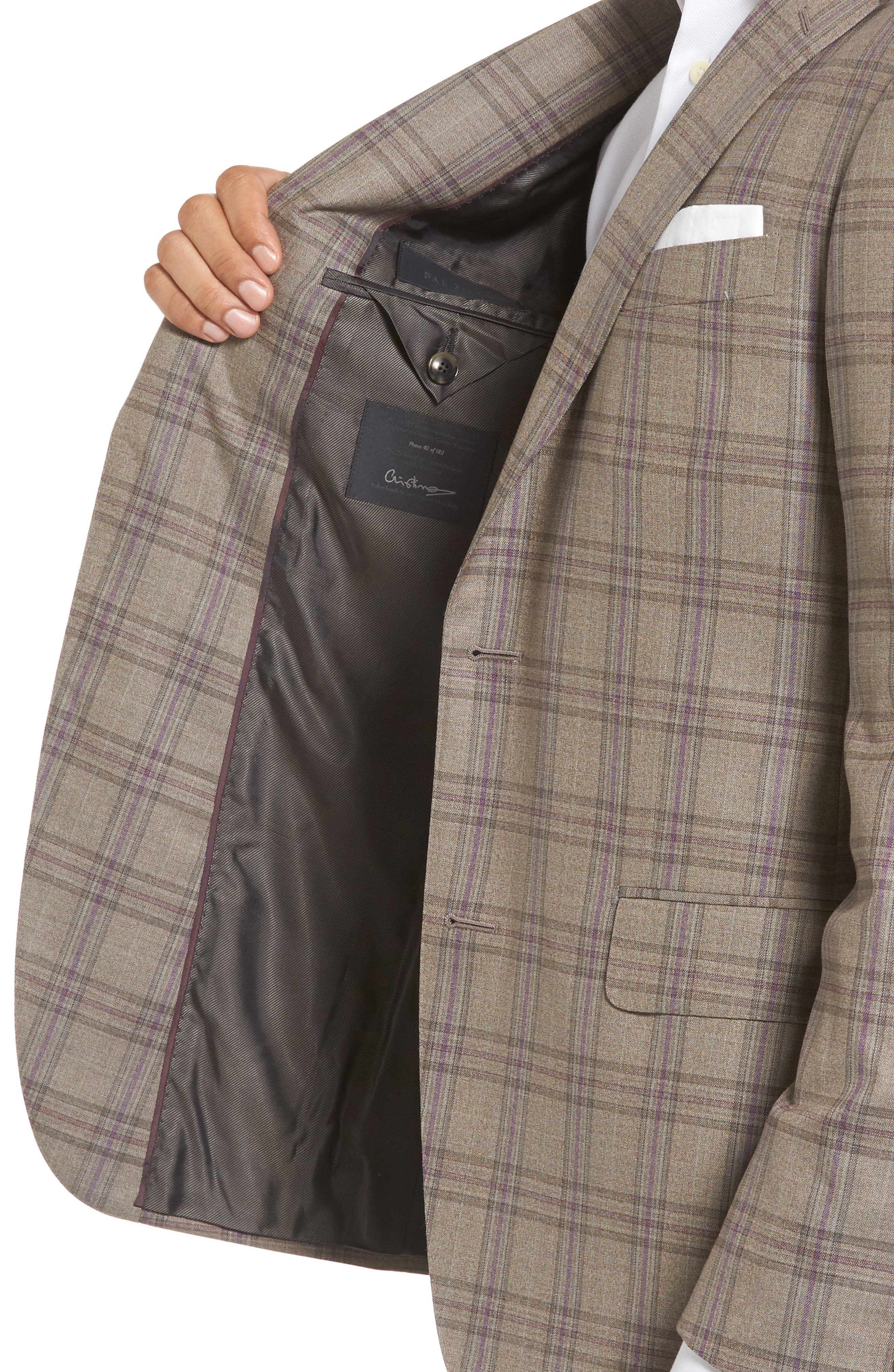 Classic Fit Plaid Wool Sport Coat,                             Alternate thumbnail 4, color,                             Light Brown