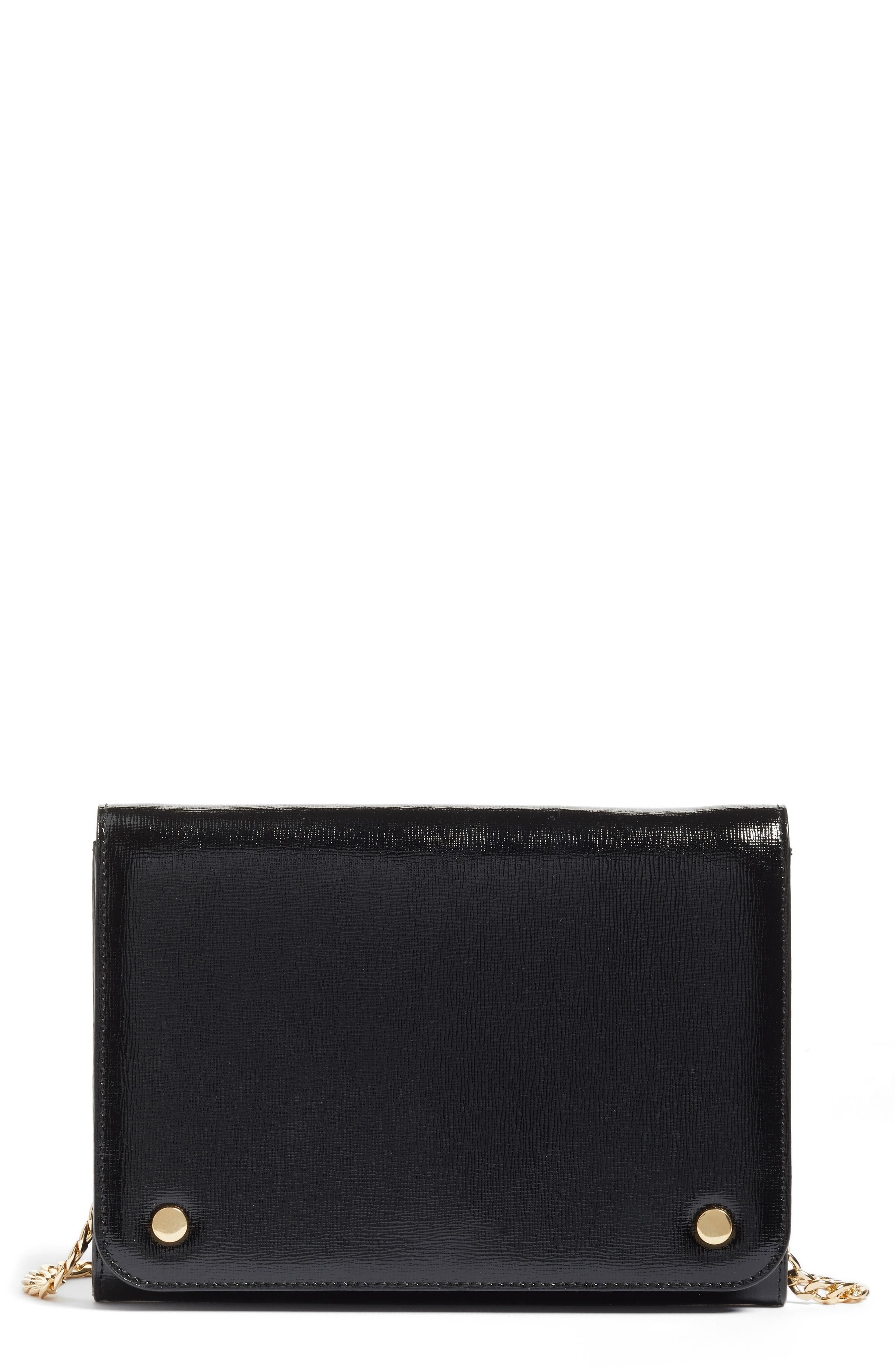 Leather Wallet on a Chain,                             Main thumbnail 1, color,                             Black Saffiano