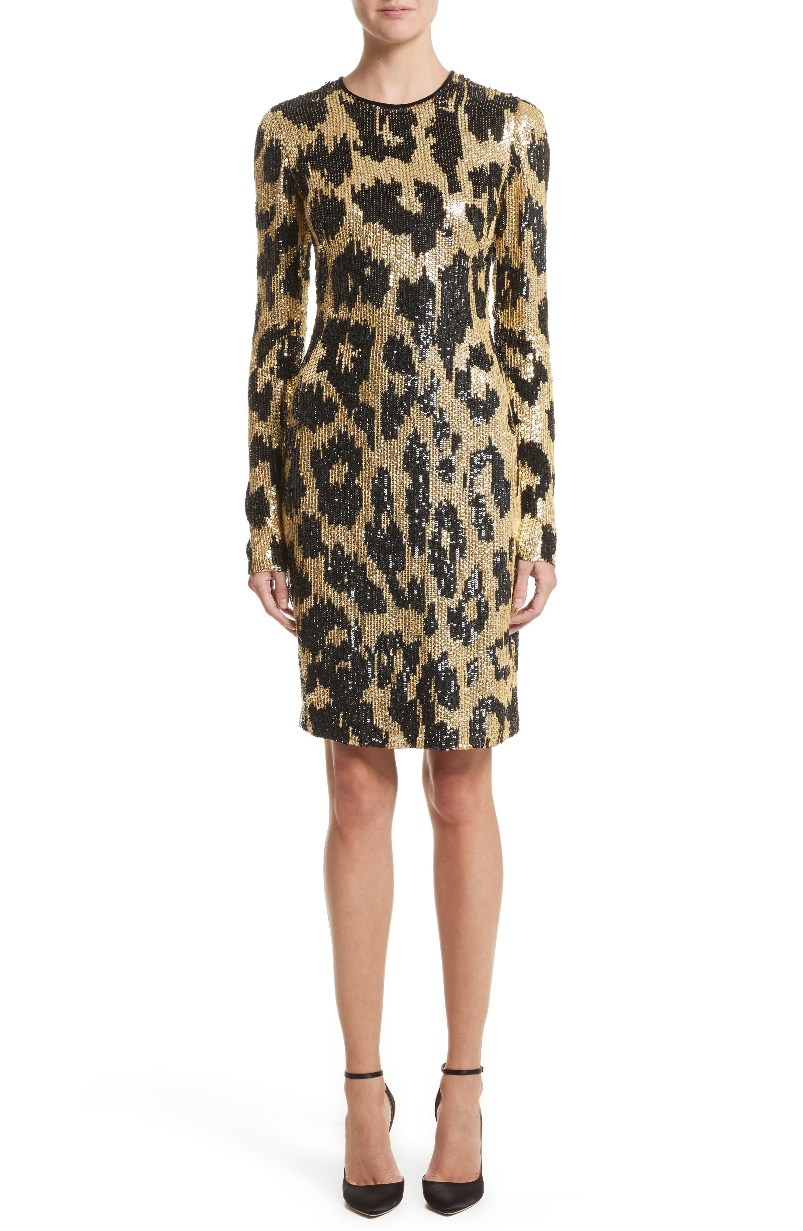 Cheetah Print Sequin Sheath Dress,                         Main,                         color, Black/ Gold