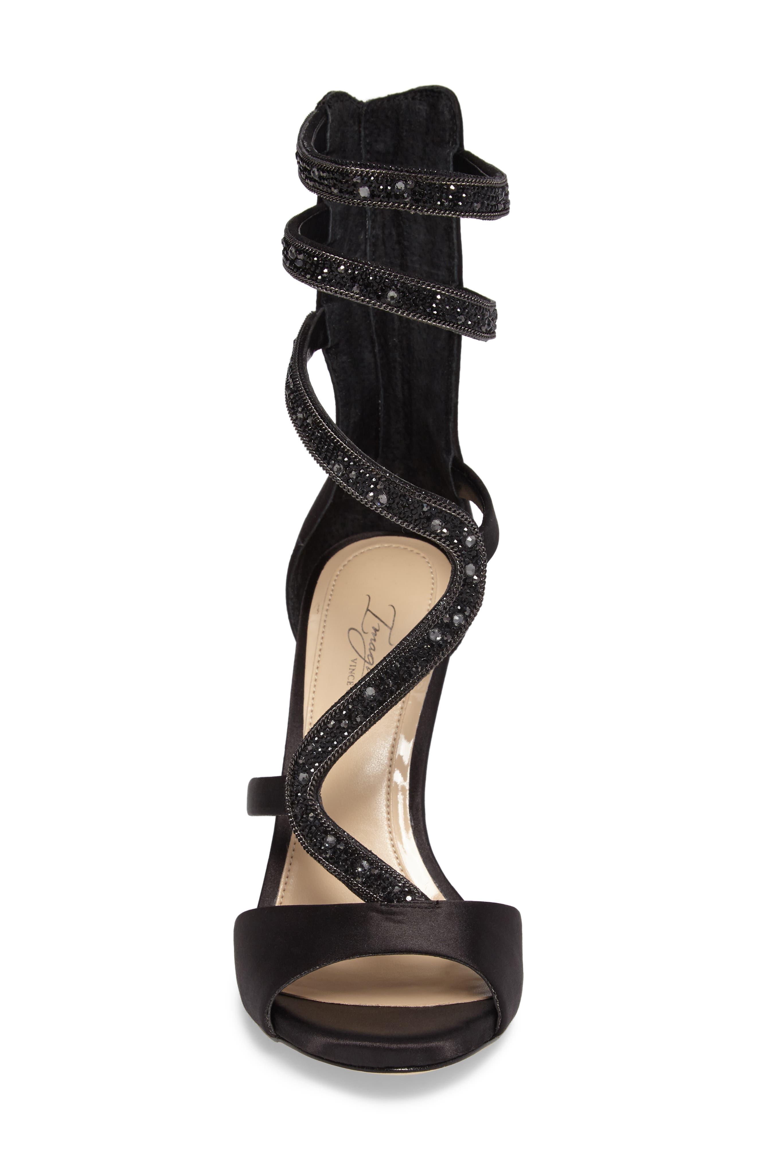 Imagine Vince Camuto Dafny Embellished Sandal,                             Alternate thumbnail 4, color,                             Black Satin