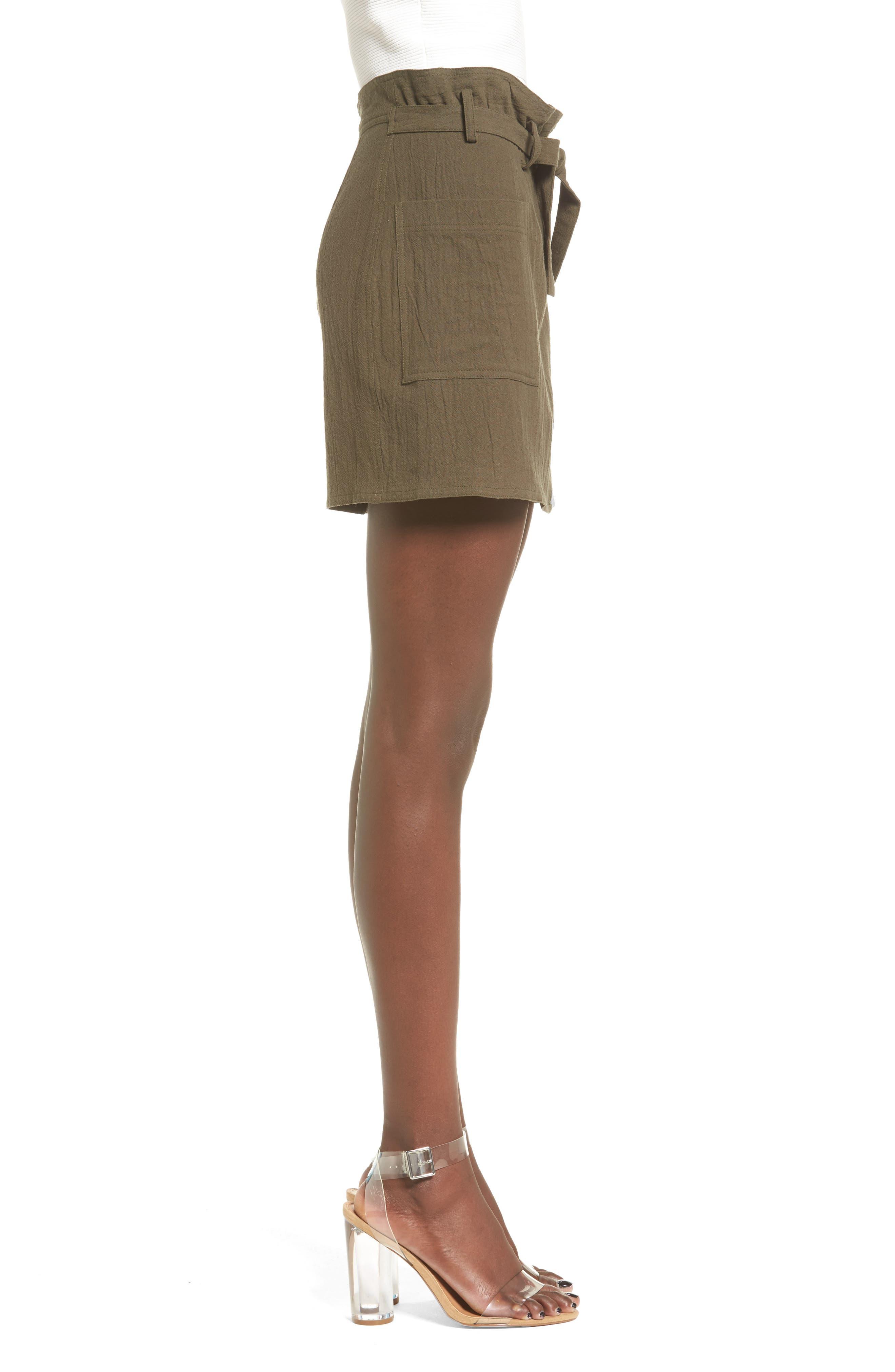 Paperbag Miniskirt,                             Alternate thumbnail 3, color,                             Olive Sarma