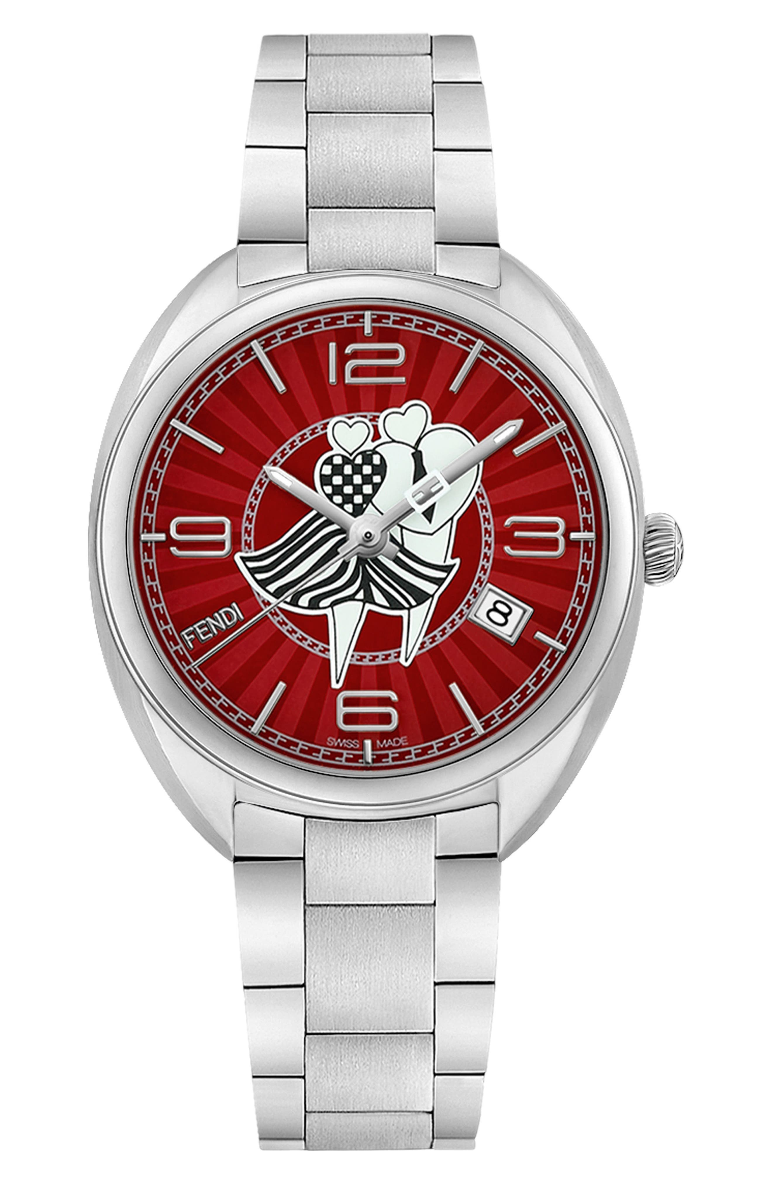 Momento Bracelet Watch, 34mm,                             Main thumbnail 1, color,                             Silver/ Red/ Silver