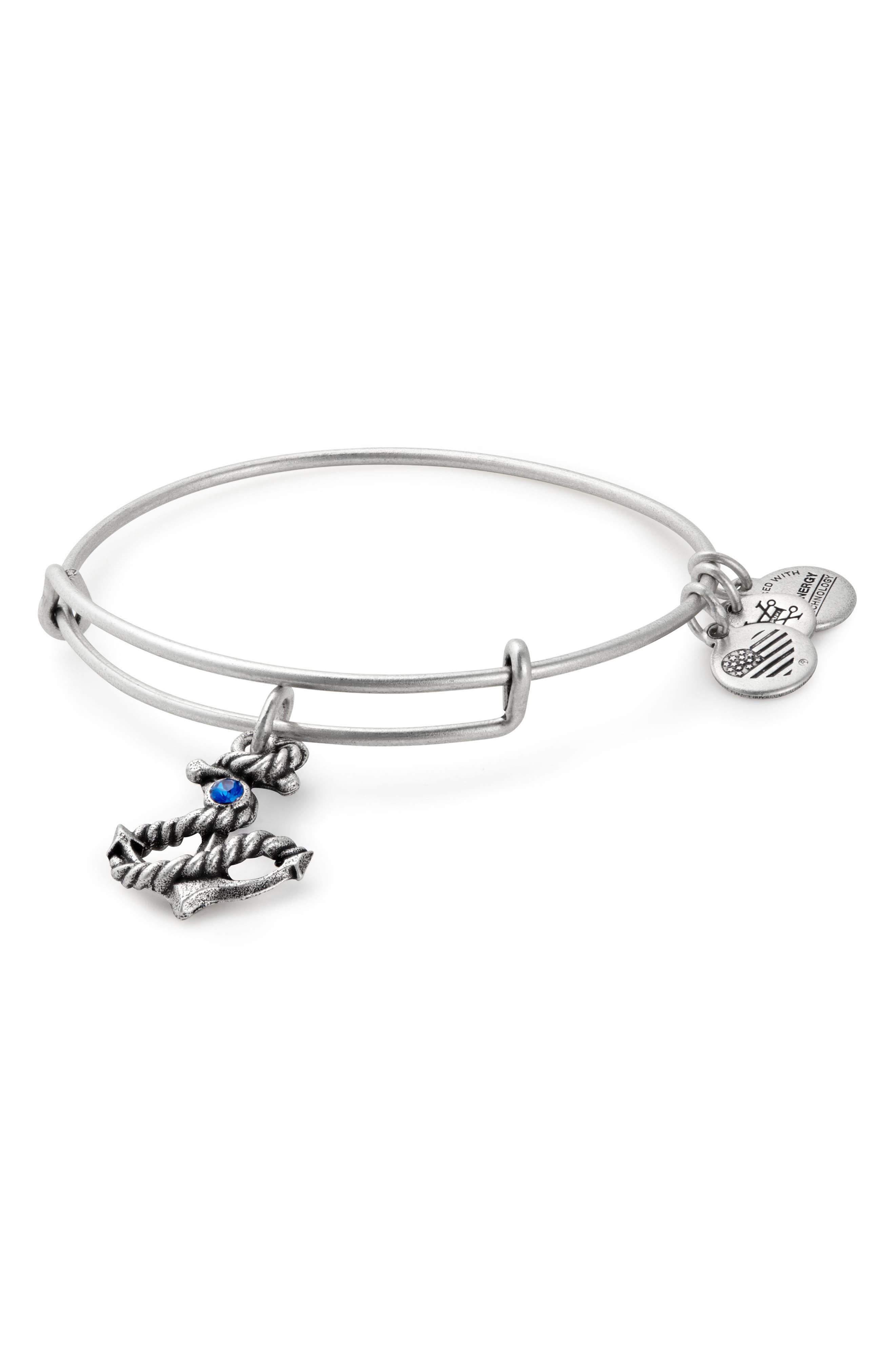 Anchor Adjustable Wire Bangle,                         Main,                         color, Silver
